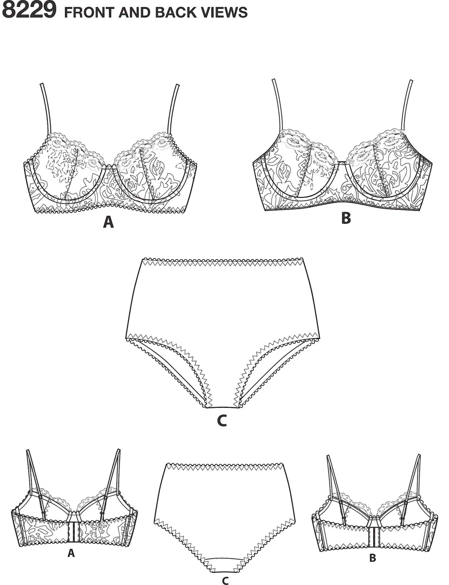 Simplicity Pattern 8229 Womens Underwire Bras and Panties Line Art From Patternsandplains.com