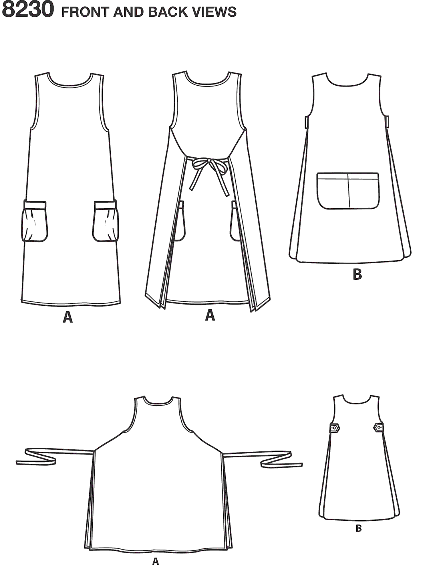 Simplicity Pattern 8230 Womens Dottie Angel Reversible Apron Dress and Tabard Line Art From Patternsandplains.com