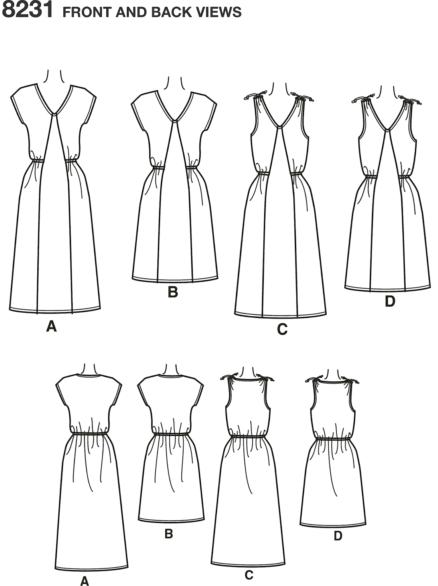 Simplicity Pattern 8231 Womens Dress in Two Lengths Line Art From Patternsandplains.com