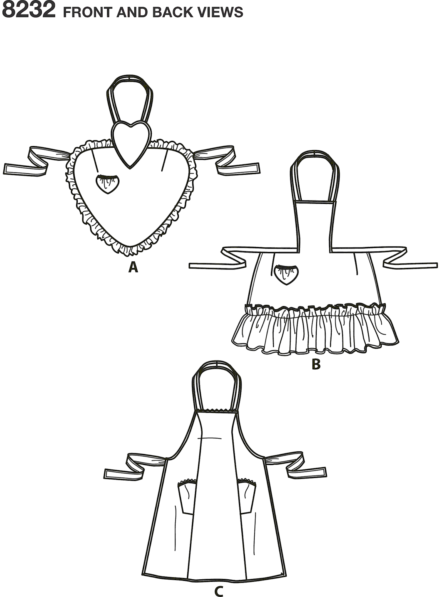 Simplicity Pattern 8232 1940s Vintage Aprons Line Art From Patternsandplains.com