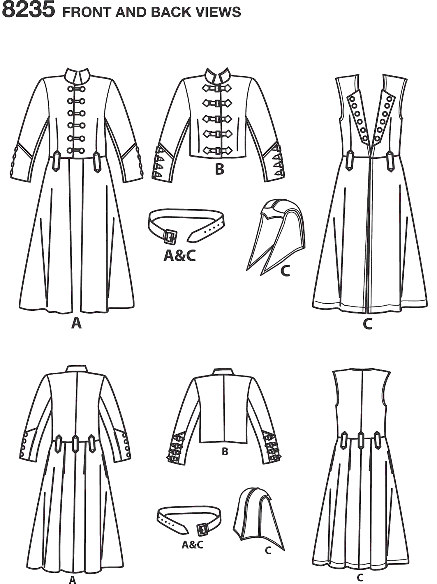 Simplicity Pattern 8235 Mens Cosplay Costume Pattern Line Art From Patternsandplains.com