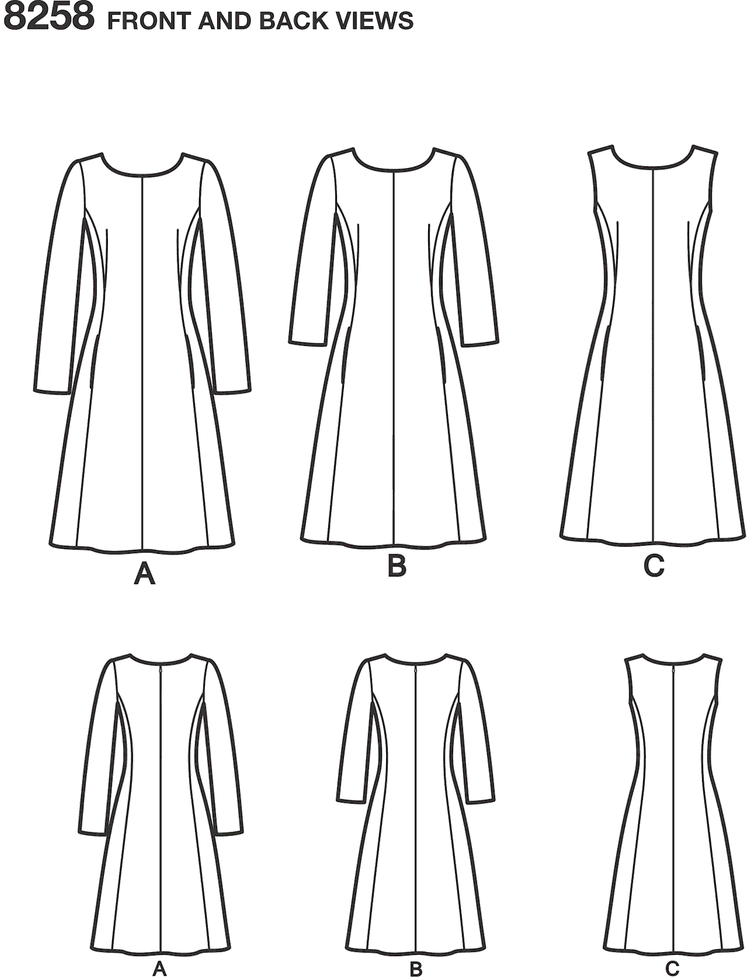 Simplicity Pattern 8258 Womens and Plus Size Amazing Fit Dress Line Art From Patternsandplains.com