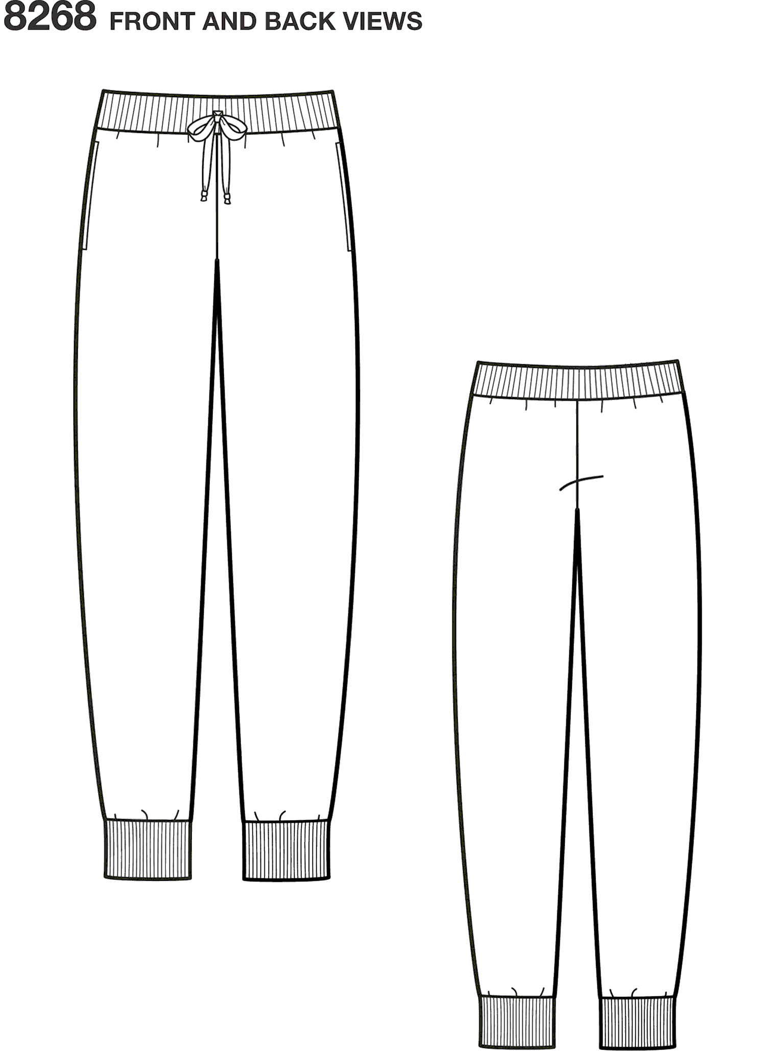 Simplicity Pattern 8268 Childs Teens and Adults Slim Fit Knit Jogger Line Art From Patternsandplains.com
