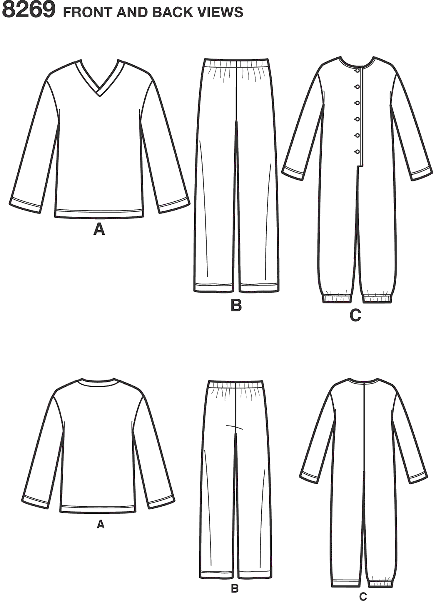 Simplicity Pattern 8269 Childs Girls and Boys Jumpsuit and Teens and Adults Trousers and Knit Top Line Art From Patternsandplains.com