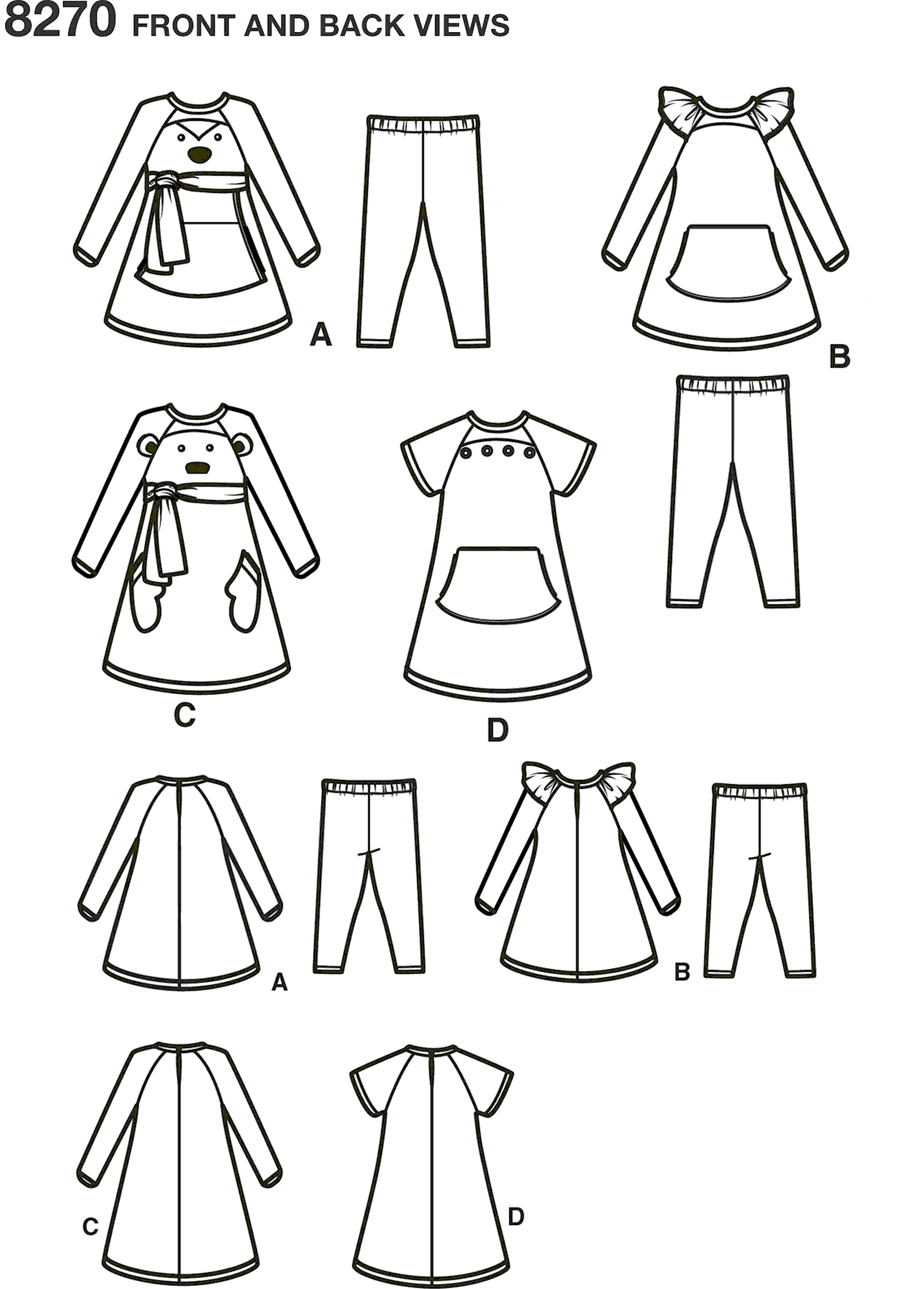 Simplicity Pattern 8270 Toddlers Knit Sportswear from Ruby Jeans Closet Line Art From Patternsandplains.com