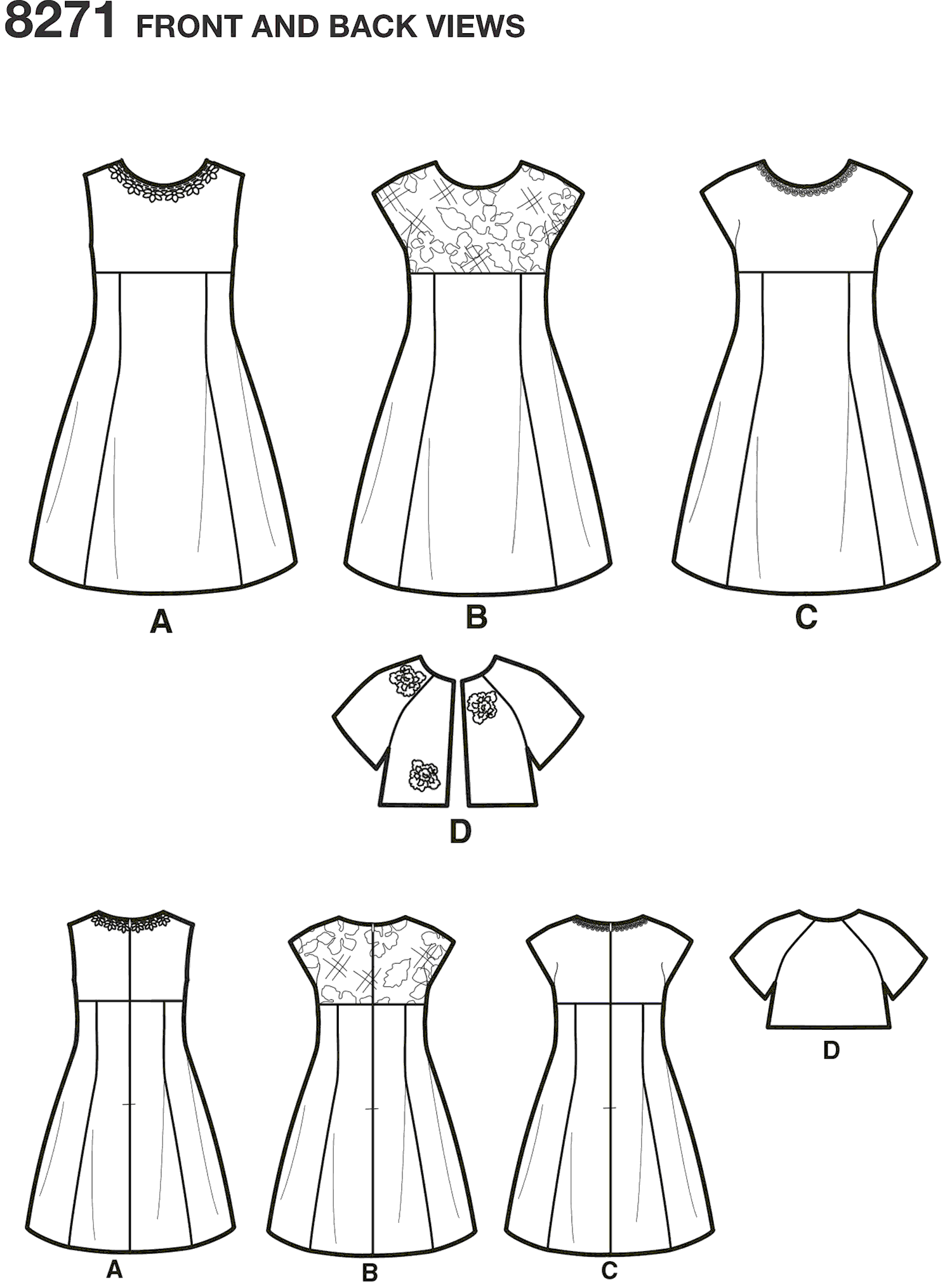 Simplicity Pattern 8271 Childs and Girls Dress and Jacket Line Art From Patternsandplains.com