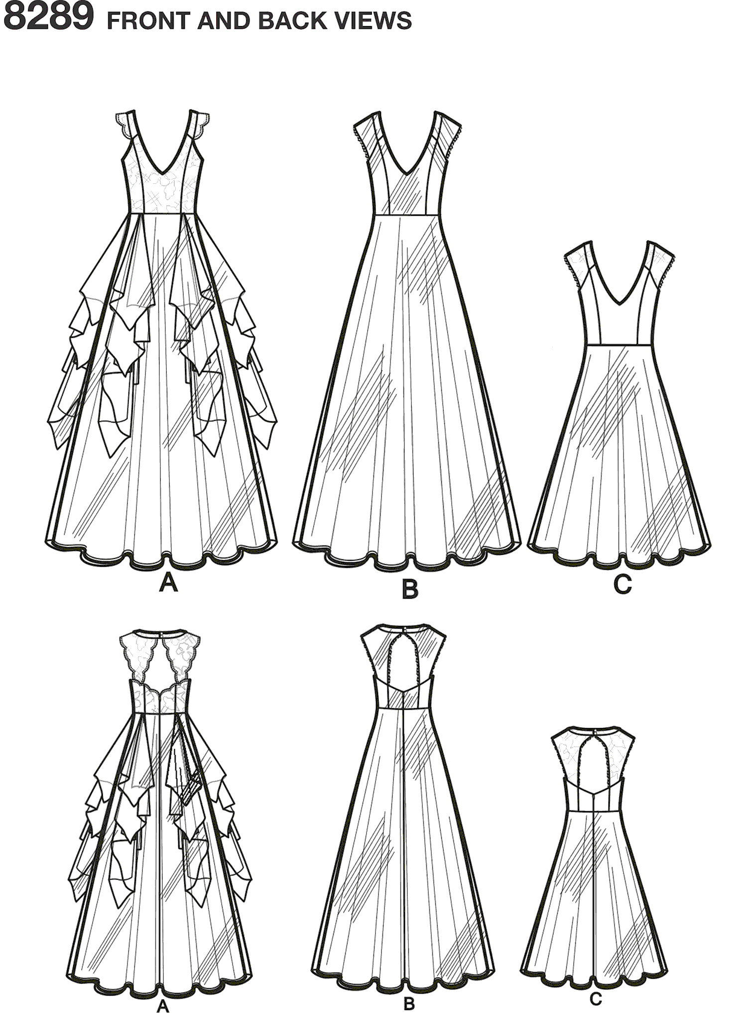 Simplicity Pattern 8289 Womens Special Occasion Dresses Line Art From Patternsandplains.com
