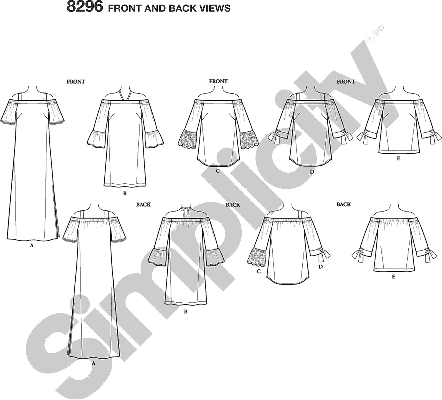 Simplicity Pattern 8296 Womens Womens Dress and Tops Line Art From Patternsandplains.com