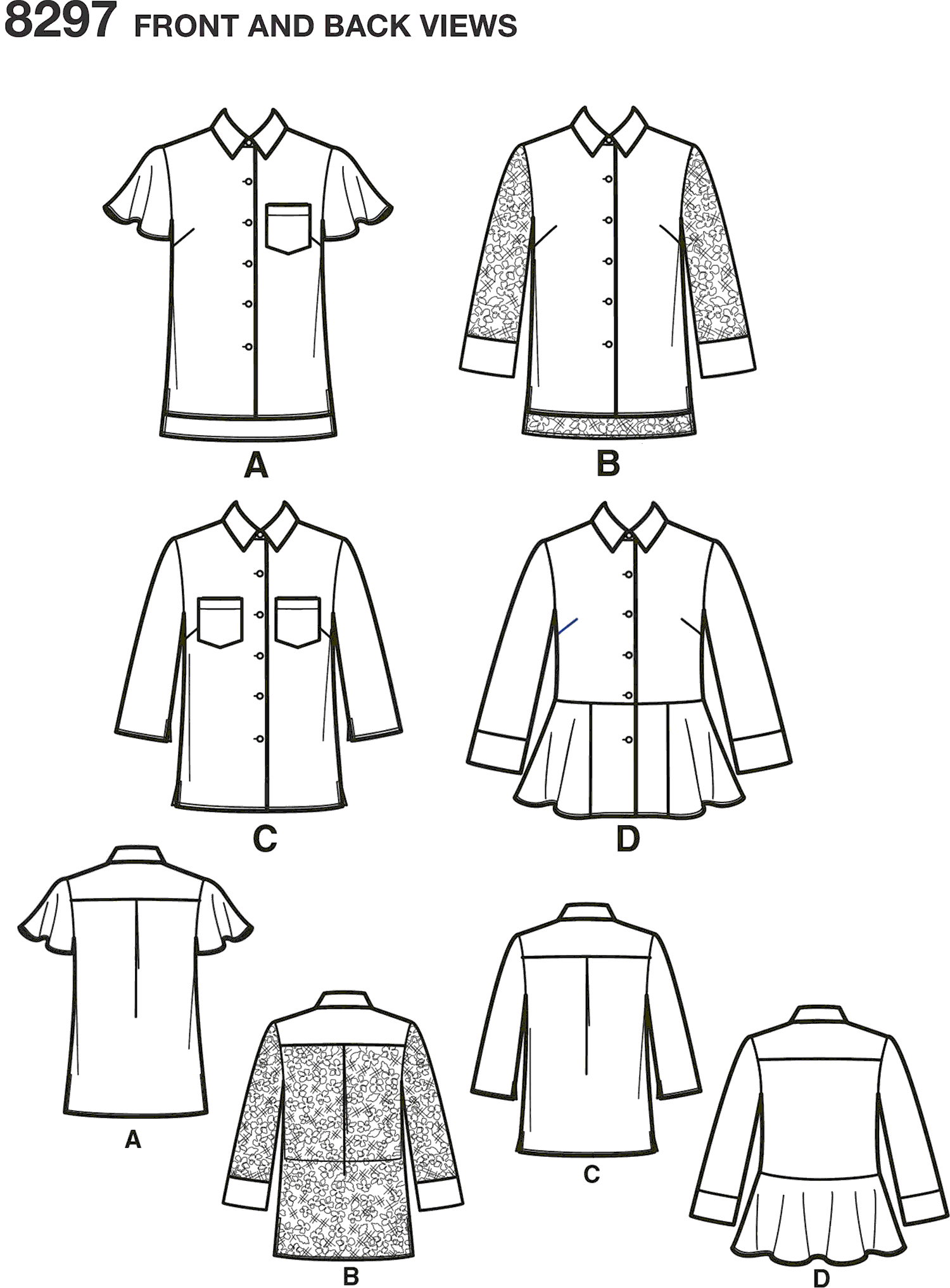 Simplicity Pattern 8297 Womens Shirts Line Art From Patternsandplains.com