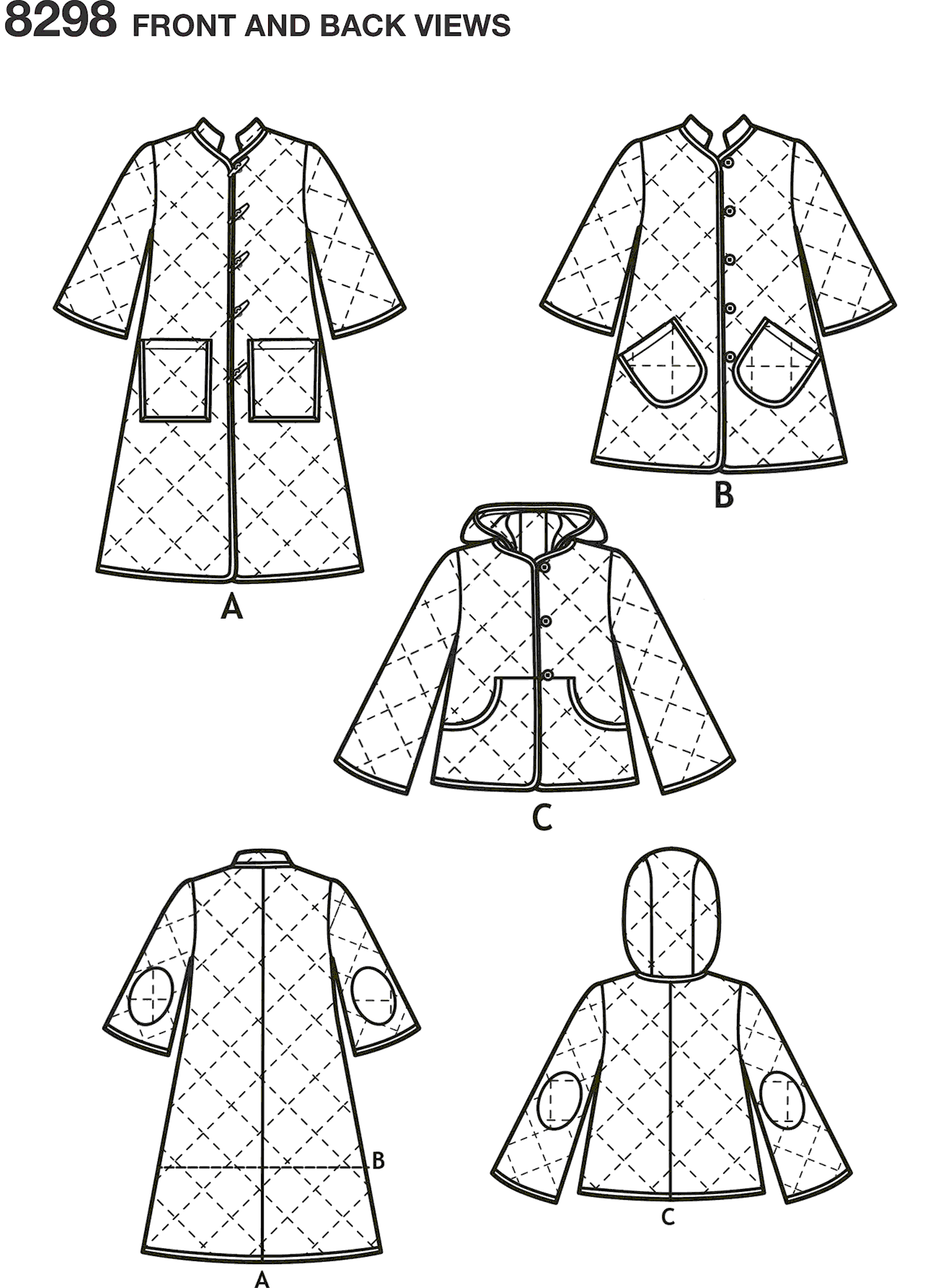 Simplicity Pattern 8298 Womens Coat and Jacket Line Art From Patternsandplains.com