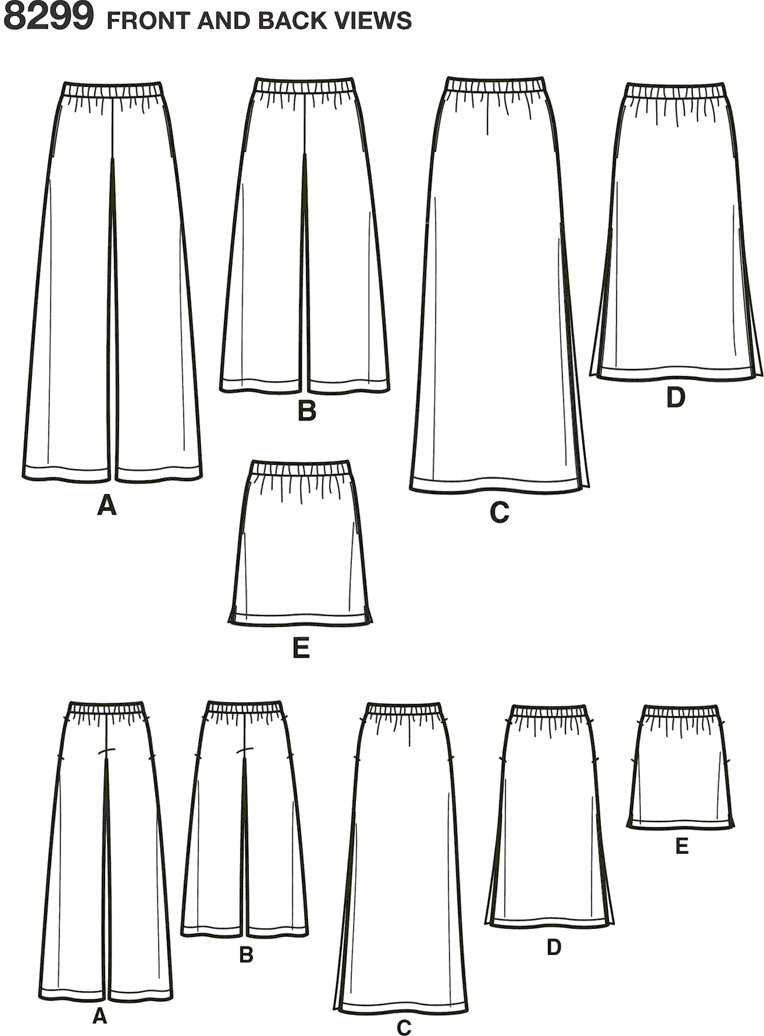 Simplicity Pattern 8299 Womens Skirts or trousers in various lengths Line Art From Patternsandplains.com