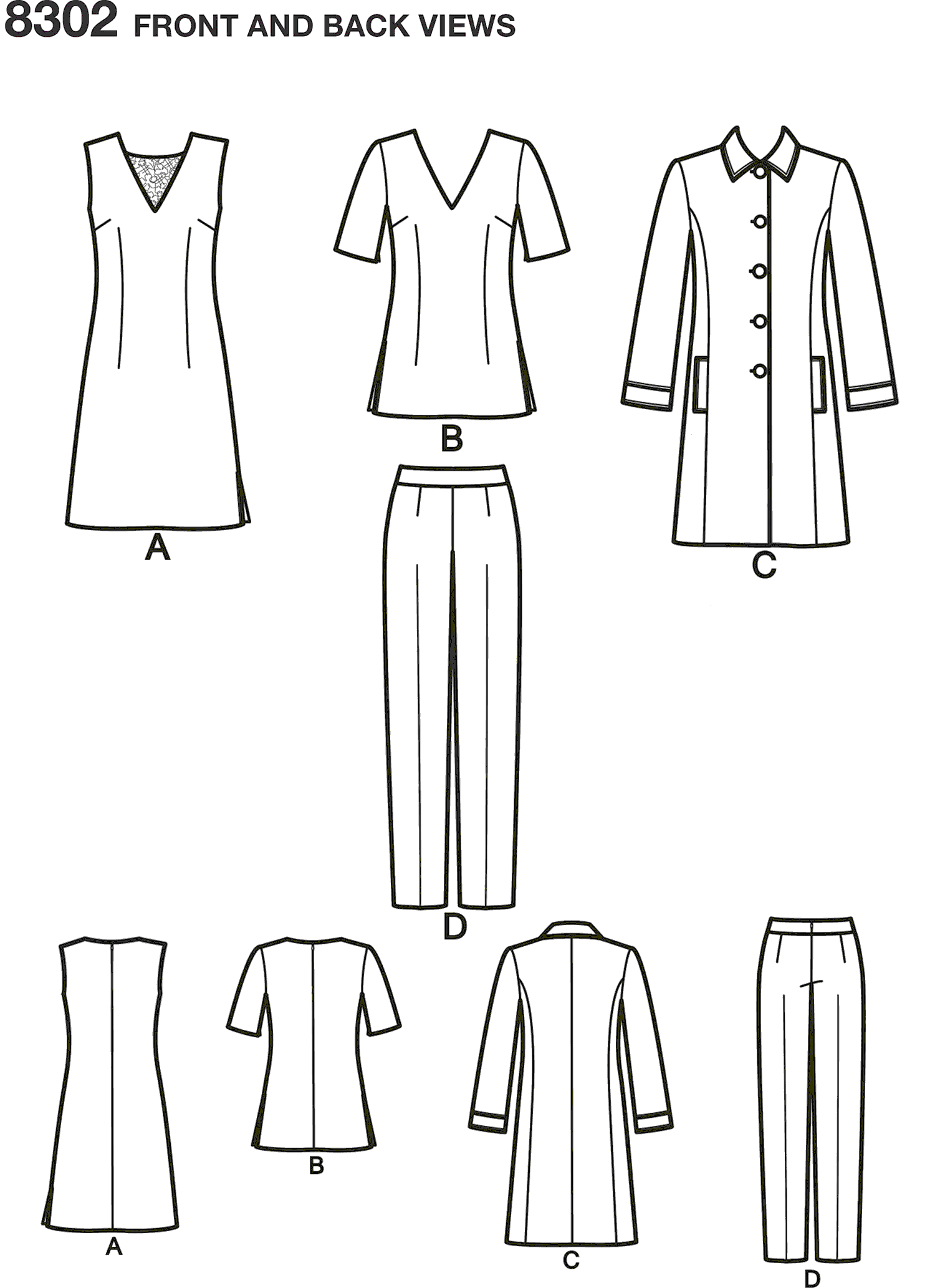 Simplicity Pattern 8302 Womens Womens Dress or Tunic Slim trousers and Unlined Coat Line Art From Patternsandplains.com