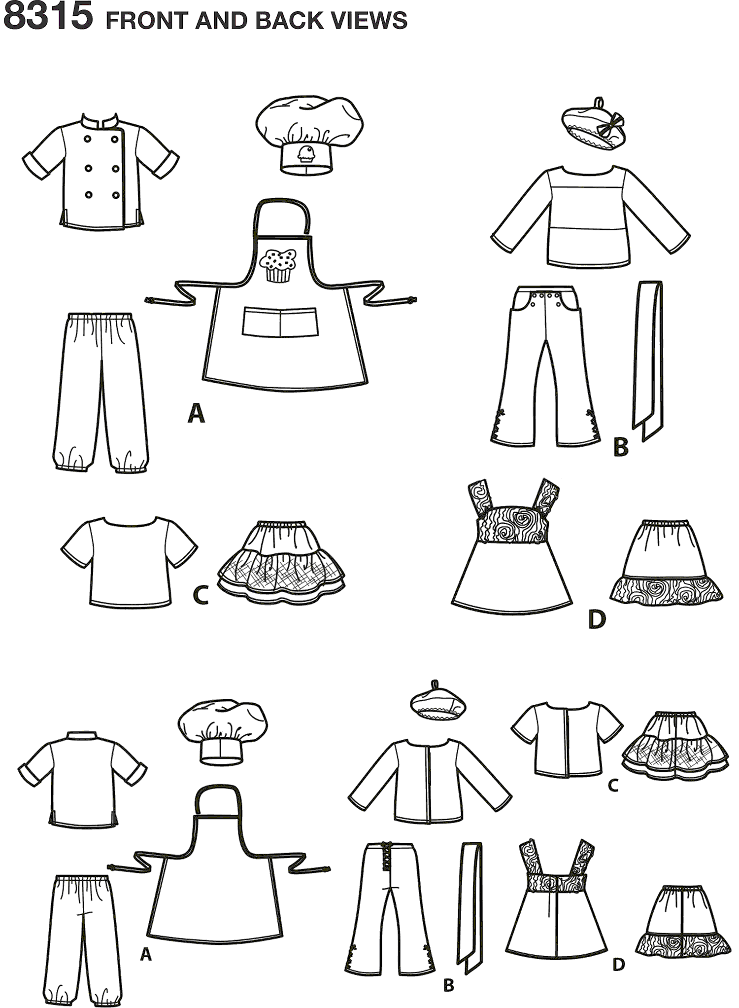 Simplicity Pattern 8315 18 Chef Doll Clothes Line Art From Patternsandplains.com