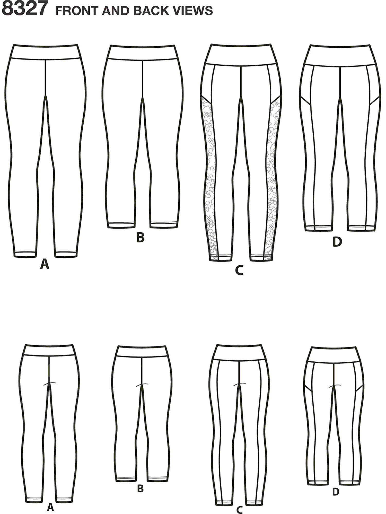 Simplicity Pattern 8327 Womens Knit Legging With Length Variations Line Art From Patternsandplains.com