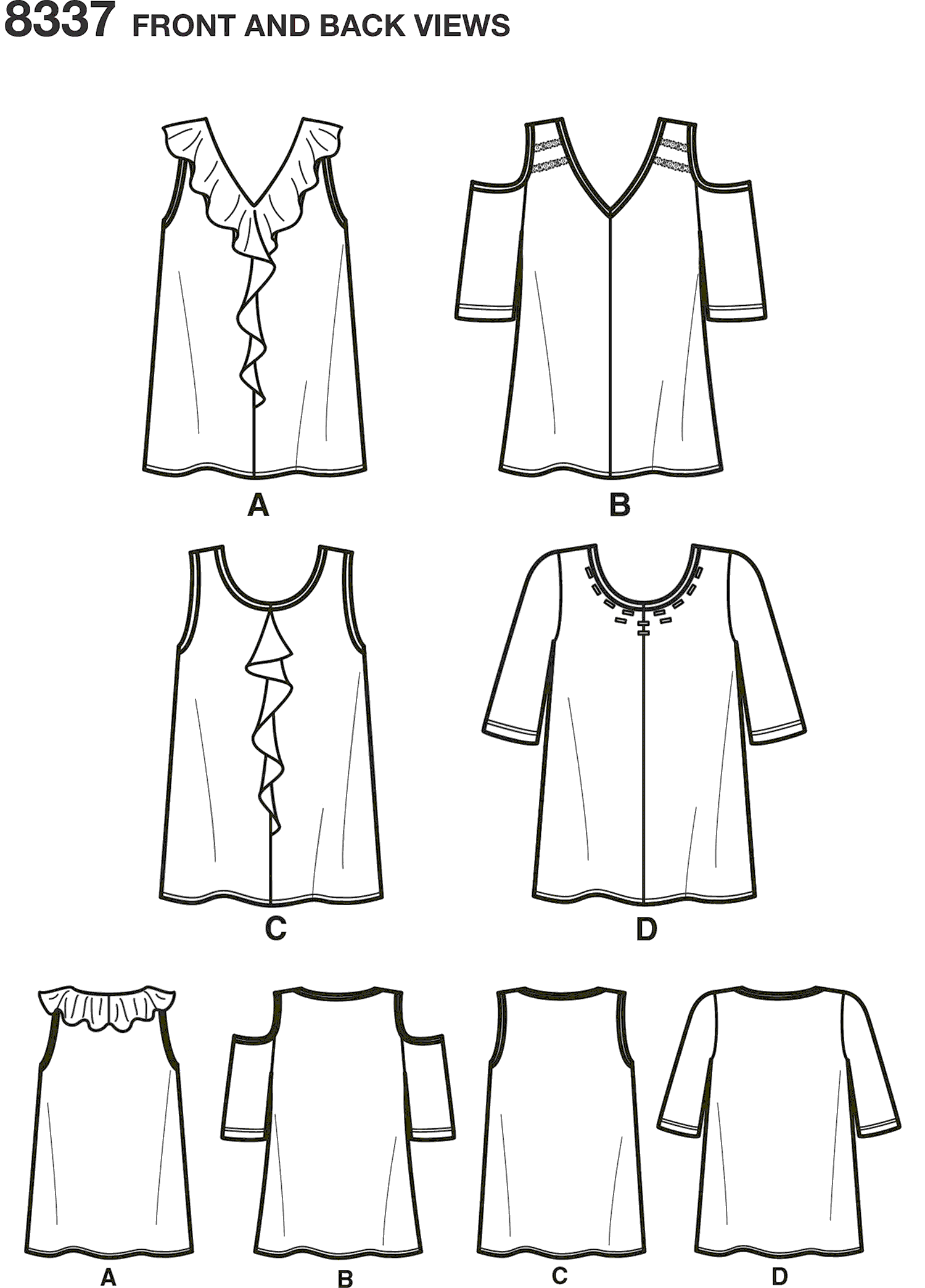 Simplicity Pattern 8337 Womens Knit Tops with Bodice and Sleeve Variations Line Art From Patternsandplains.com
