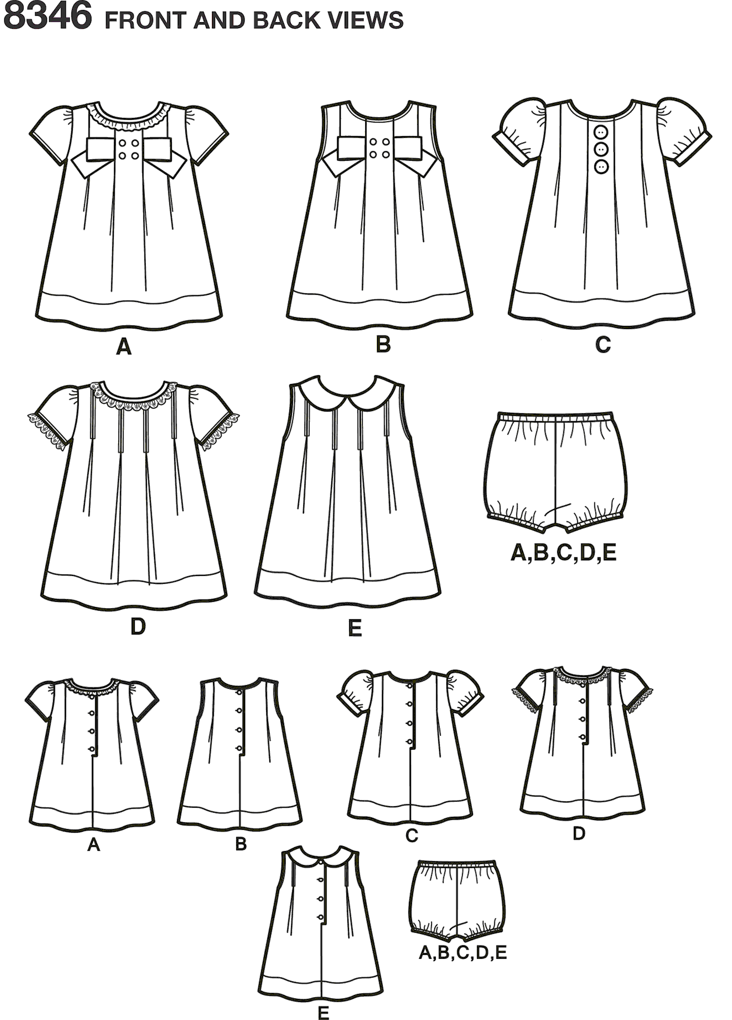 Simplicity Pattern 8346 Babies Dress and Panties Line Art From Patternsandplains.com