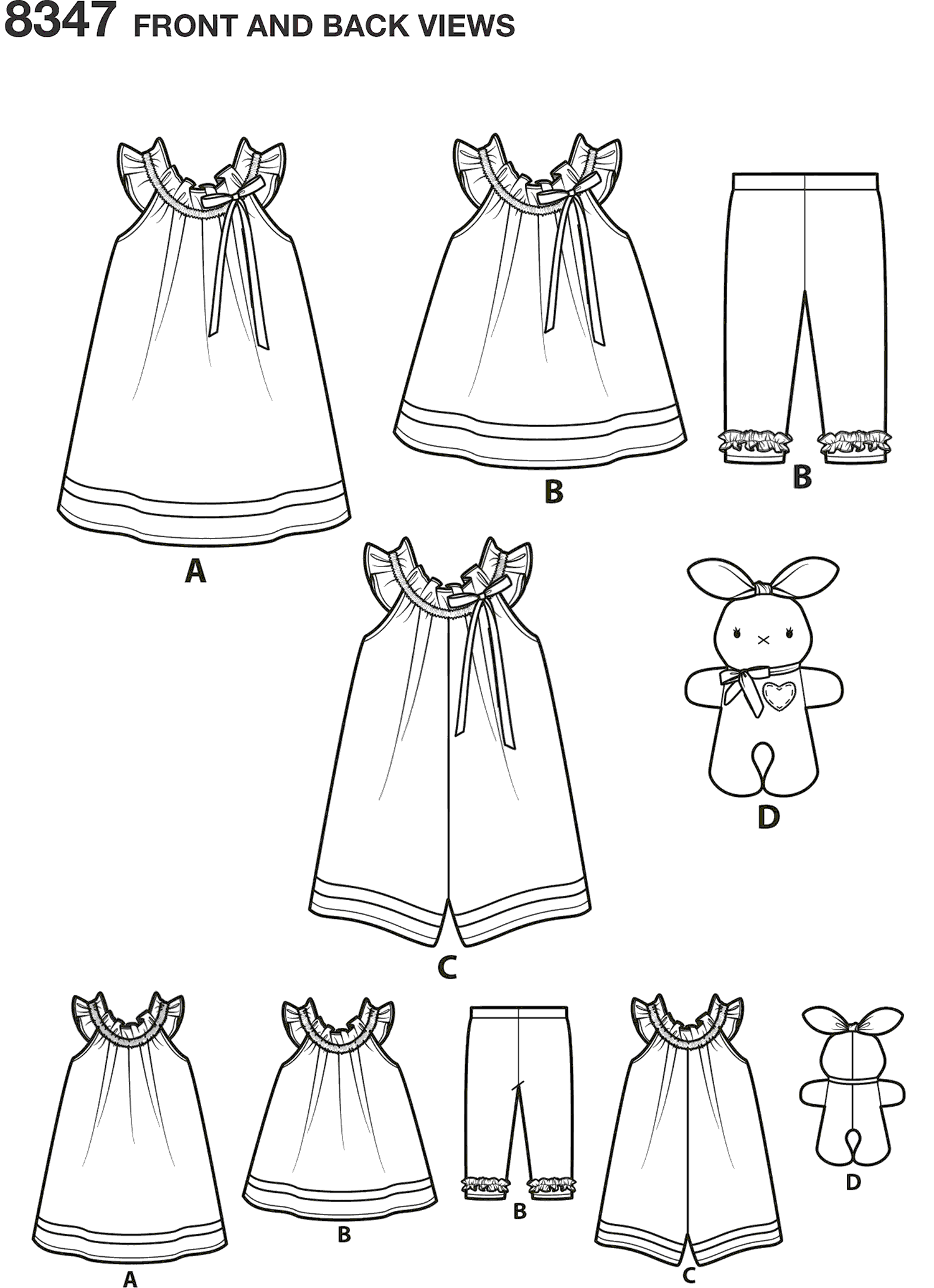 Simplicity Pattern 8347 Toddlers dress top and knit capris and stuffed bunny Line Art From Patternsandplains.com