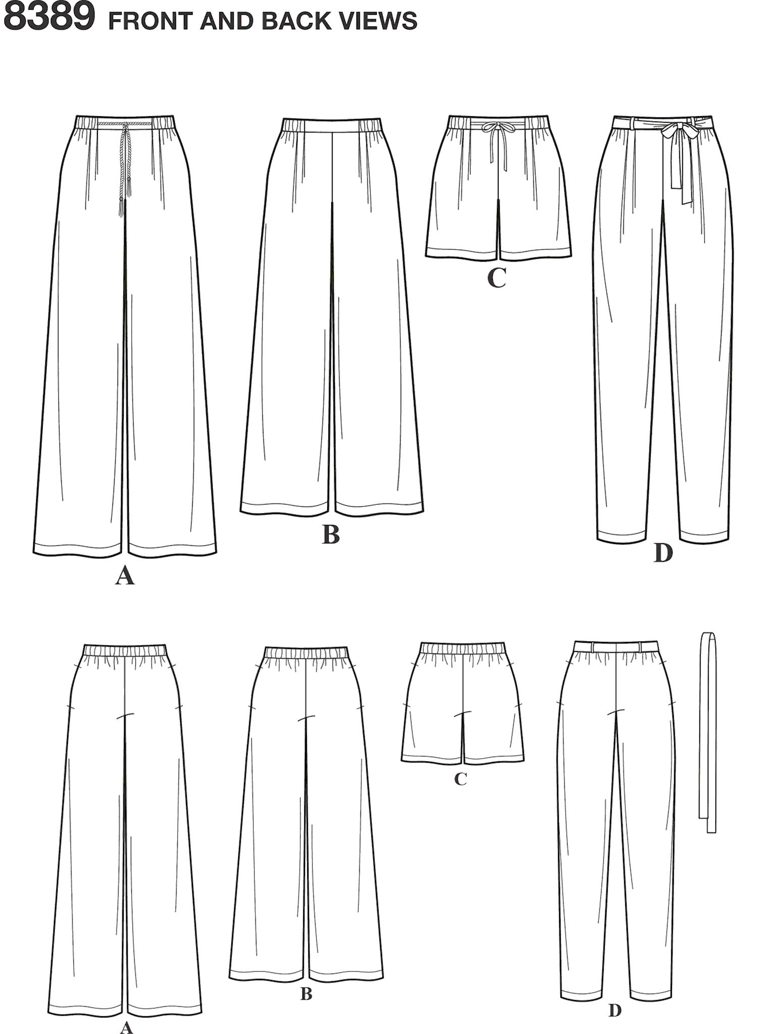 Simplicity Pattern 8389 Womens Trousers with Length and Width Variations and Tie Belt Line Art From Patternsandplains.com
