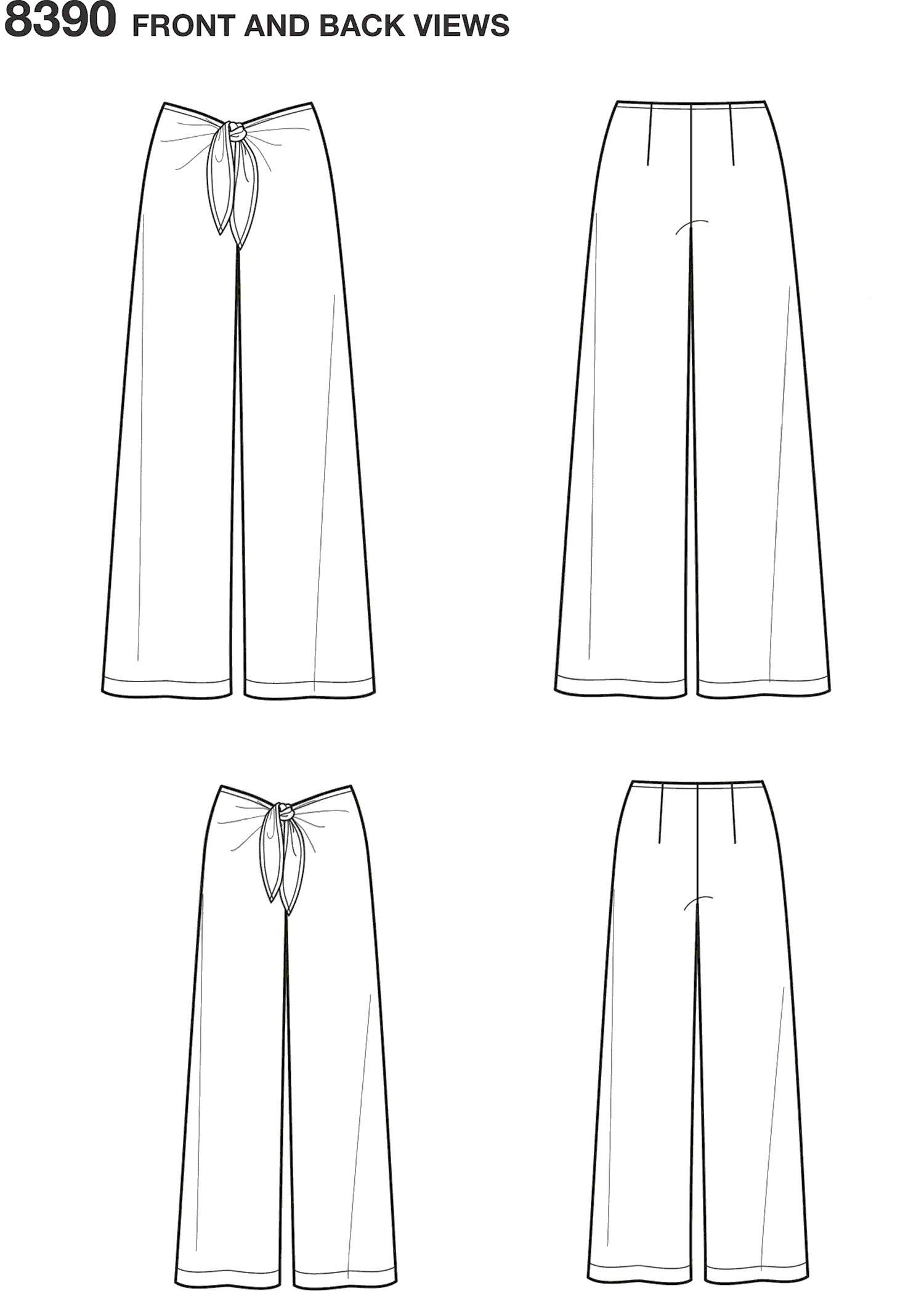 Simplicity Pattern 8390 Girls and Womens Tie Front One Piece Trousers Line Art From Patternsandplains.com