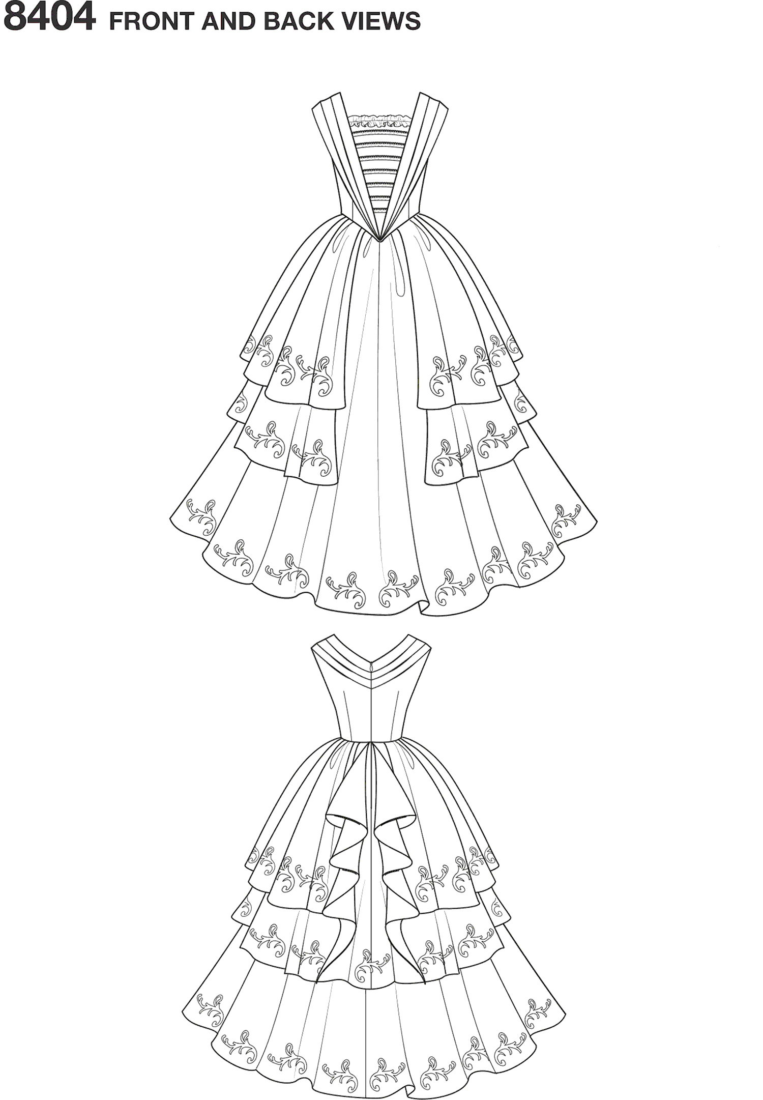 Simplicity Pattern 8404  Disney Beauty and the Beast Costume for Women Line Art From Patternsandplains.com