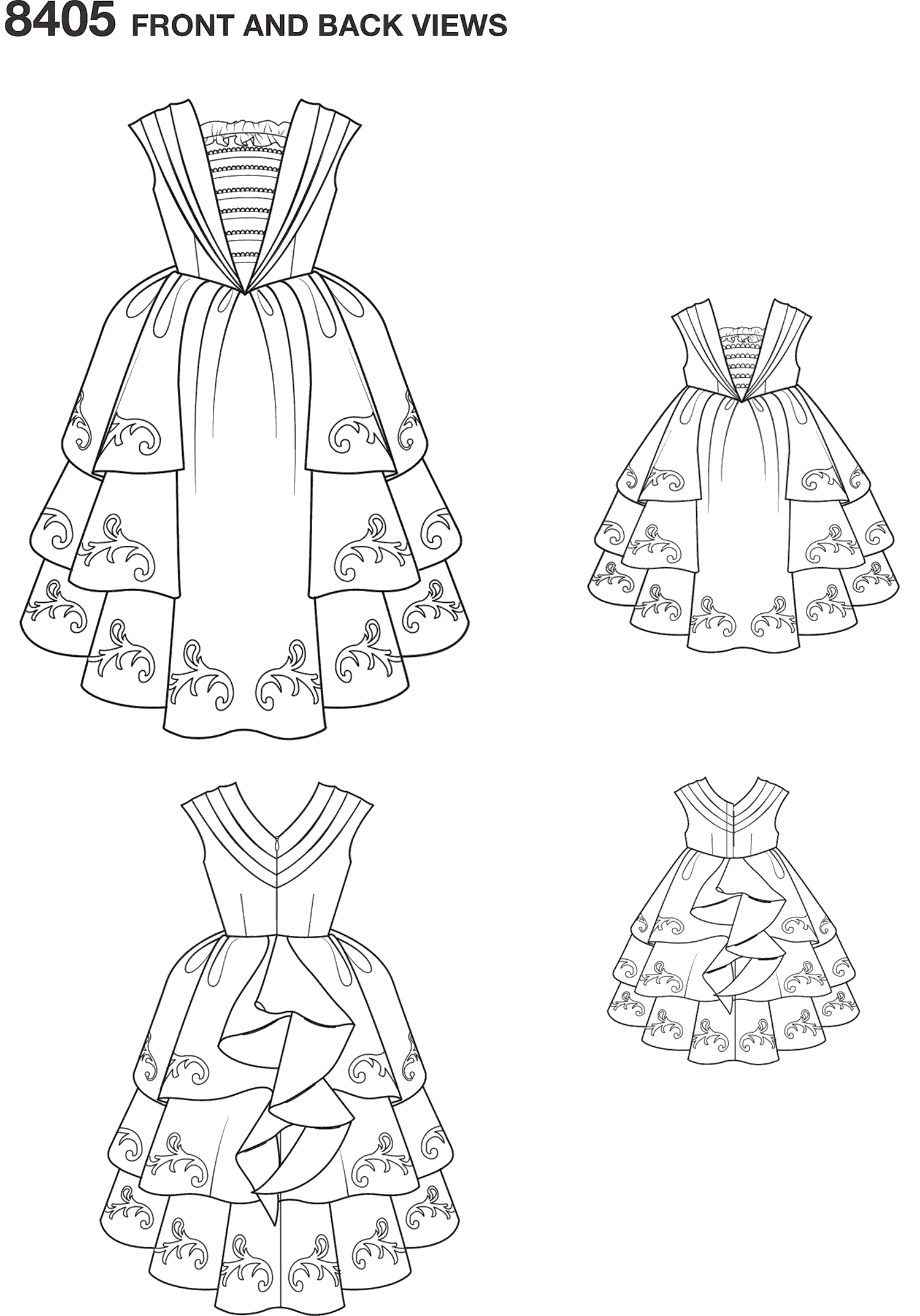 Simplicity Pattern 8405 Disney Beauty and the Beast Costume for Child and 18 Doll Line Art From Patternsandplains.com