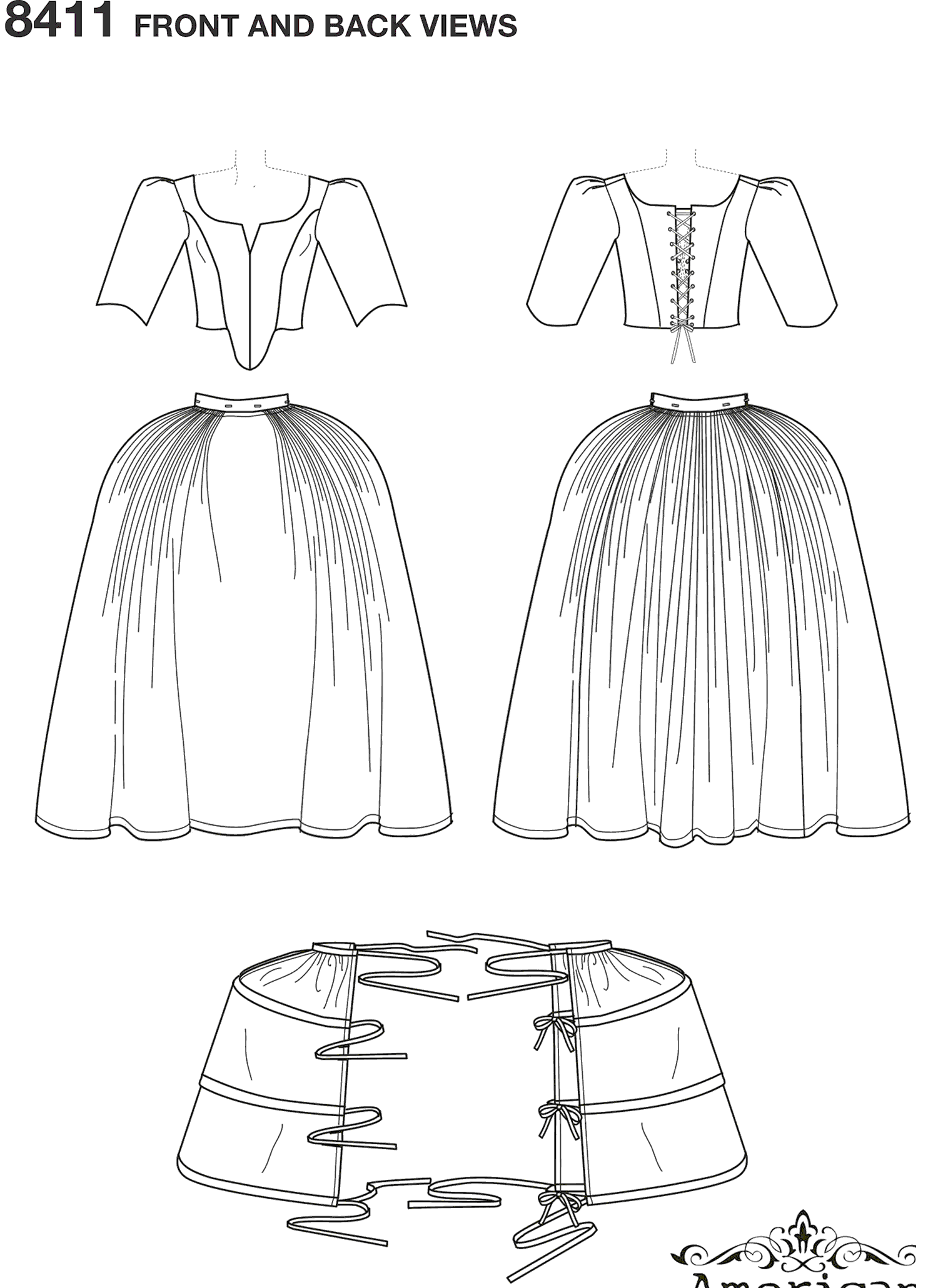 Simplicity Pattern 8411 Womens 18th Century Costume Line Art From Patternsandplains.com