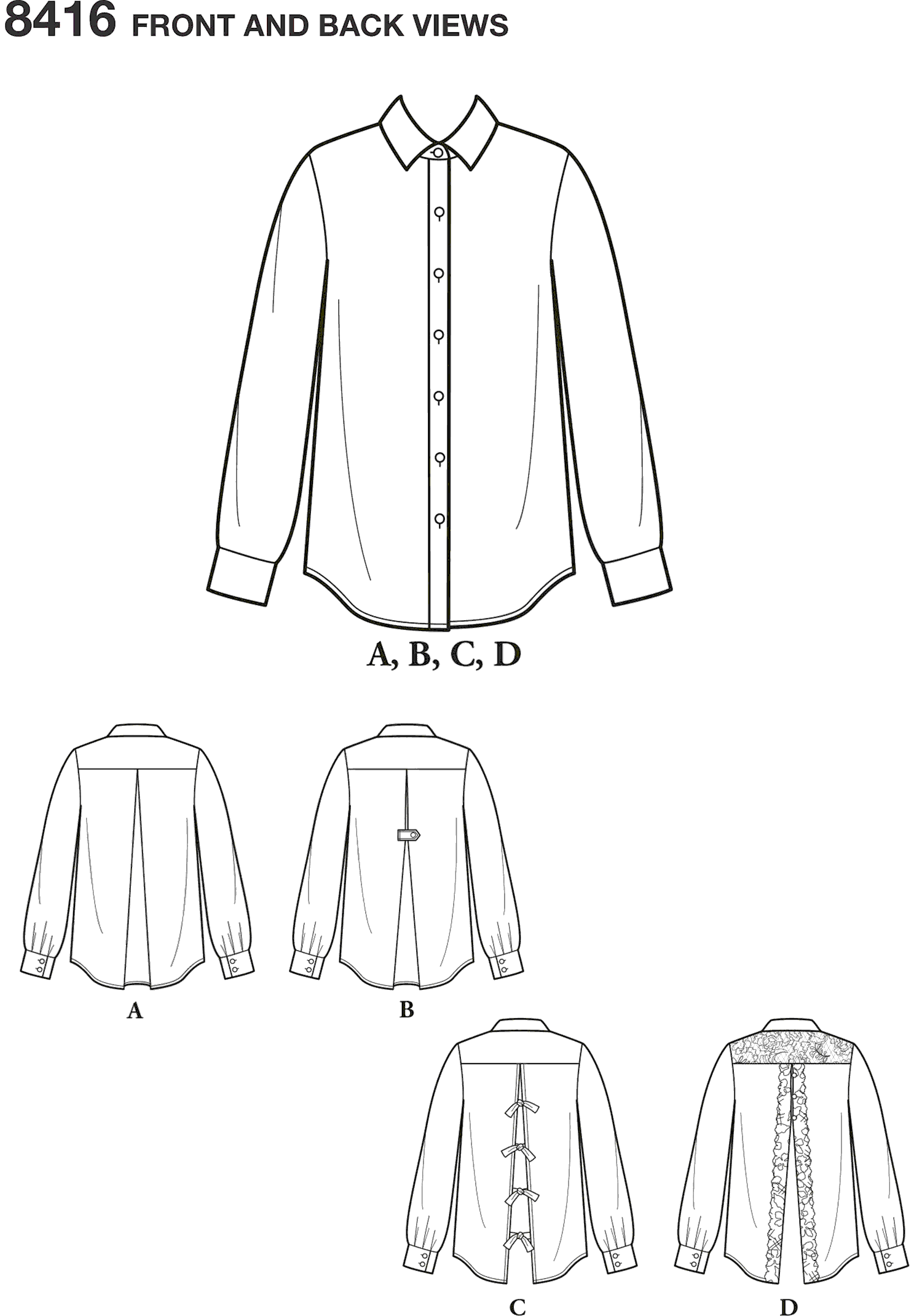 Simplicity Pattern 8416 Womens Shirt with Back Variations Line Art From Patternsandplains.com