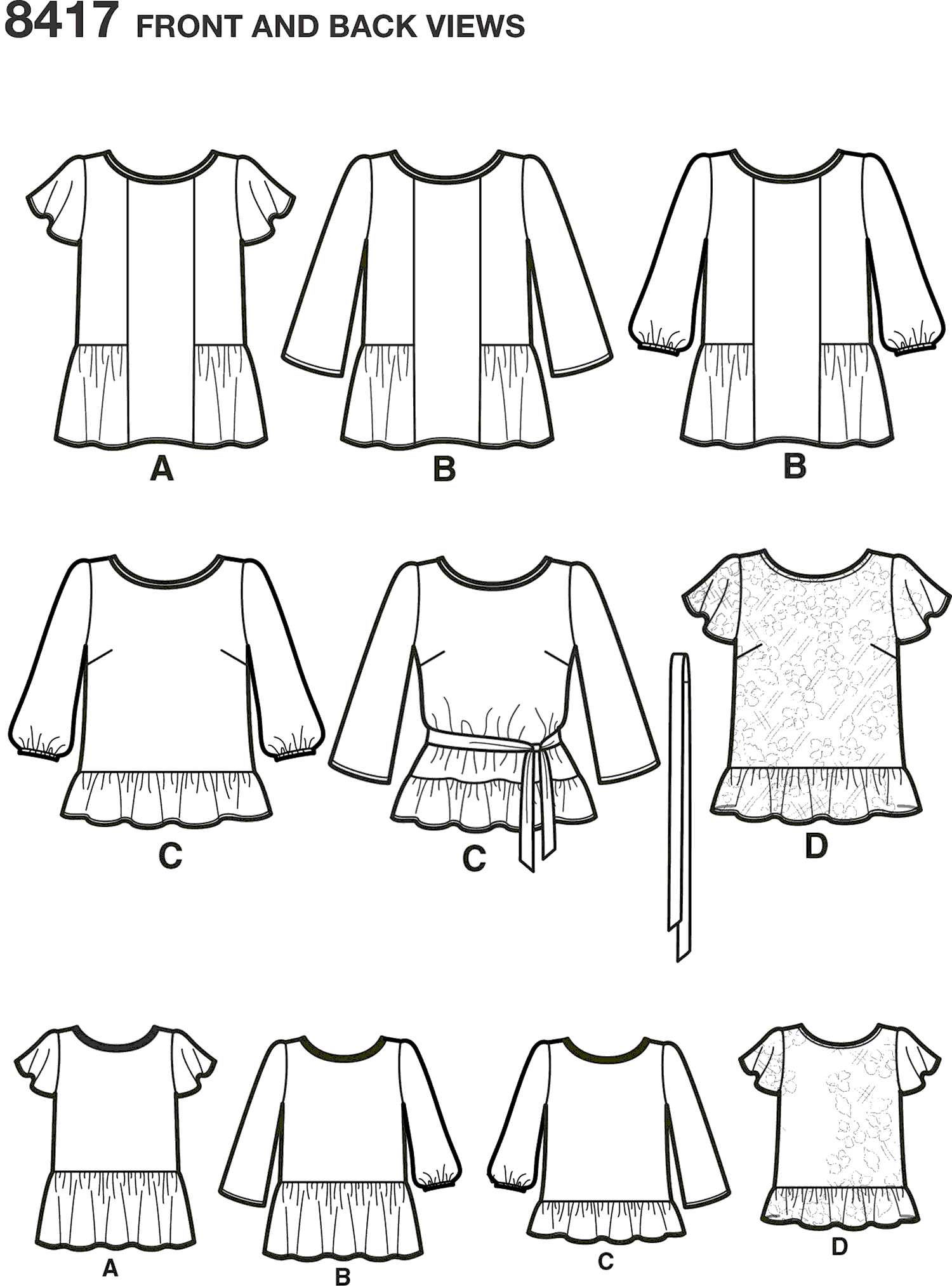 Simplicity Pattern 8417 Womens Pullover Tops with Sleeve and Fabric Variations Line Art From Patternsandplains.com