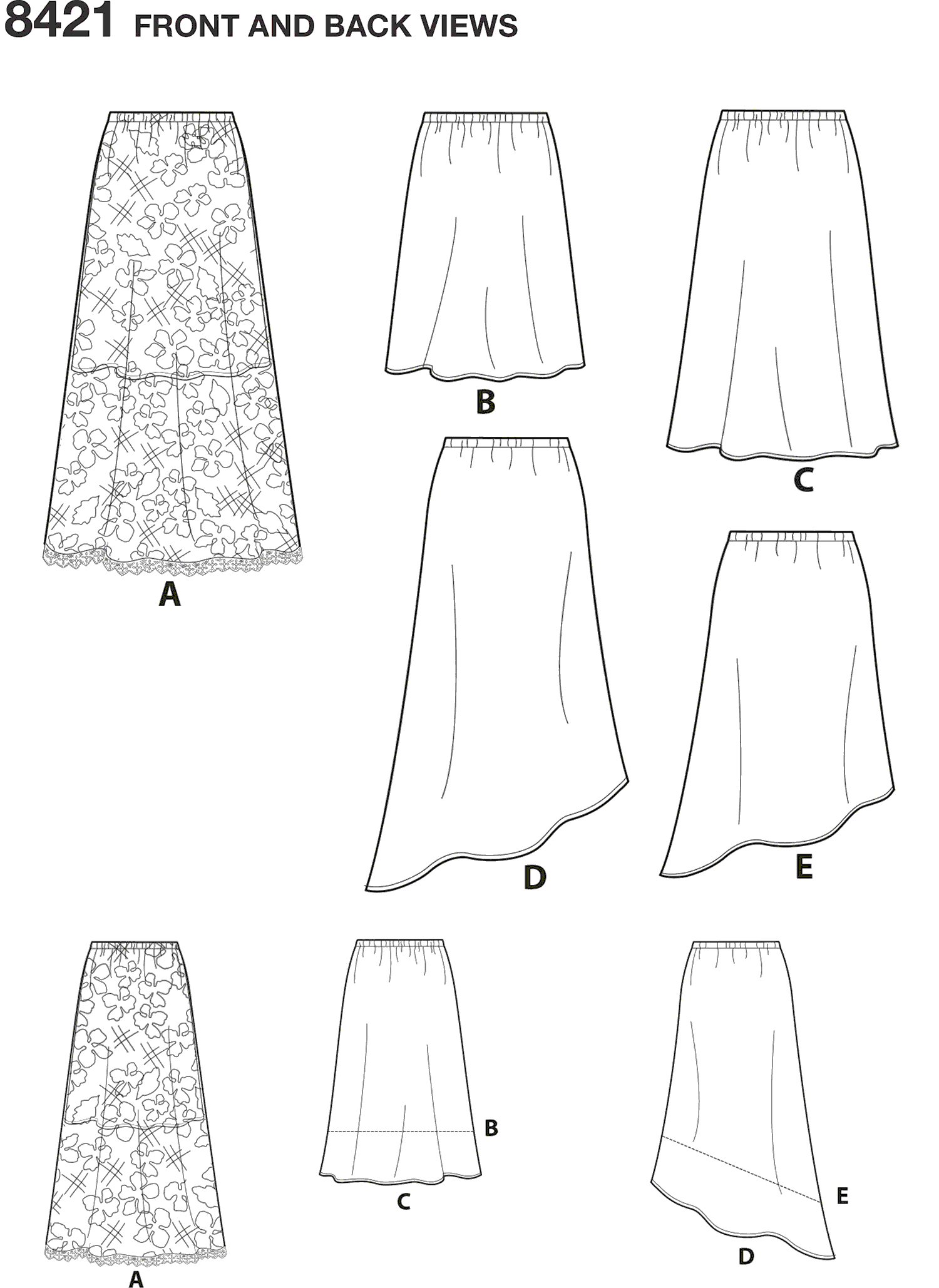 Simplicity Pattern 8421 Womens Skirts in Three lengths with Hem Variations Line Art From Patternsandplains.com