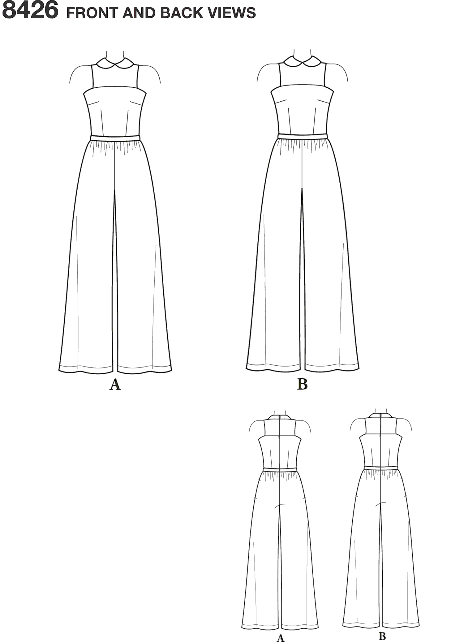 Simplicity Pattern 8426 Womens and Plus Size Jumpsuit by Mimi G Line Art From Patternsandplains.com