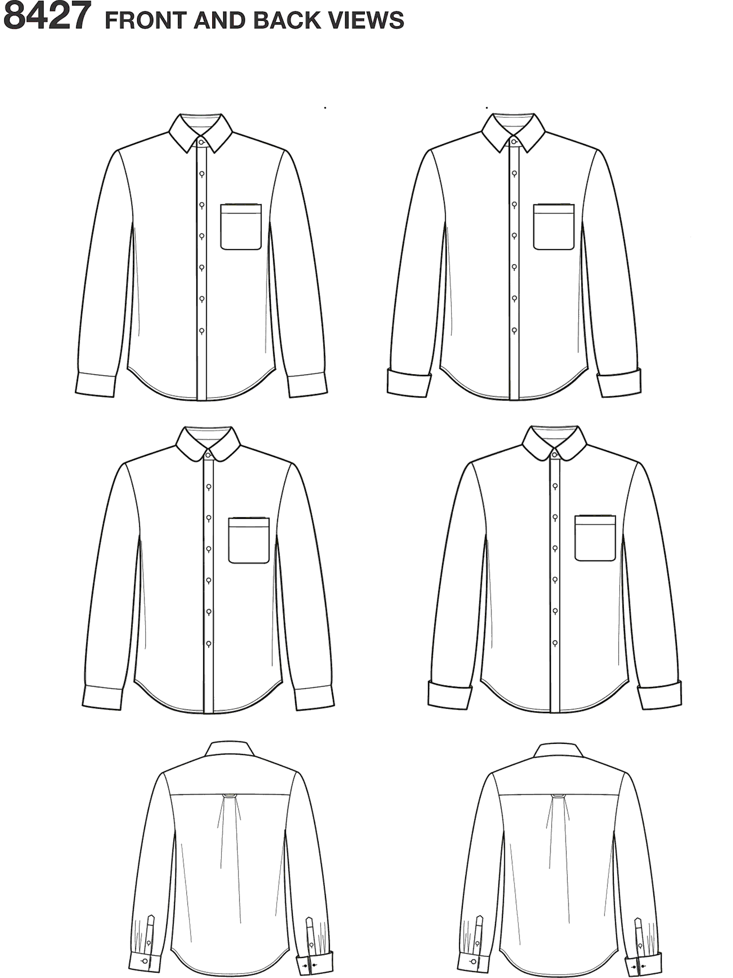 Simplicity Pattern 8427 Mens Fitted Shirt with Collar and Cuff Variations by Mimi G Line Art From Patternsandplains.com
