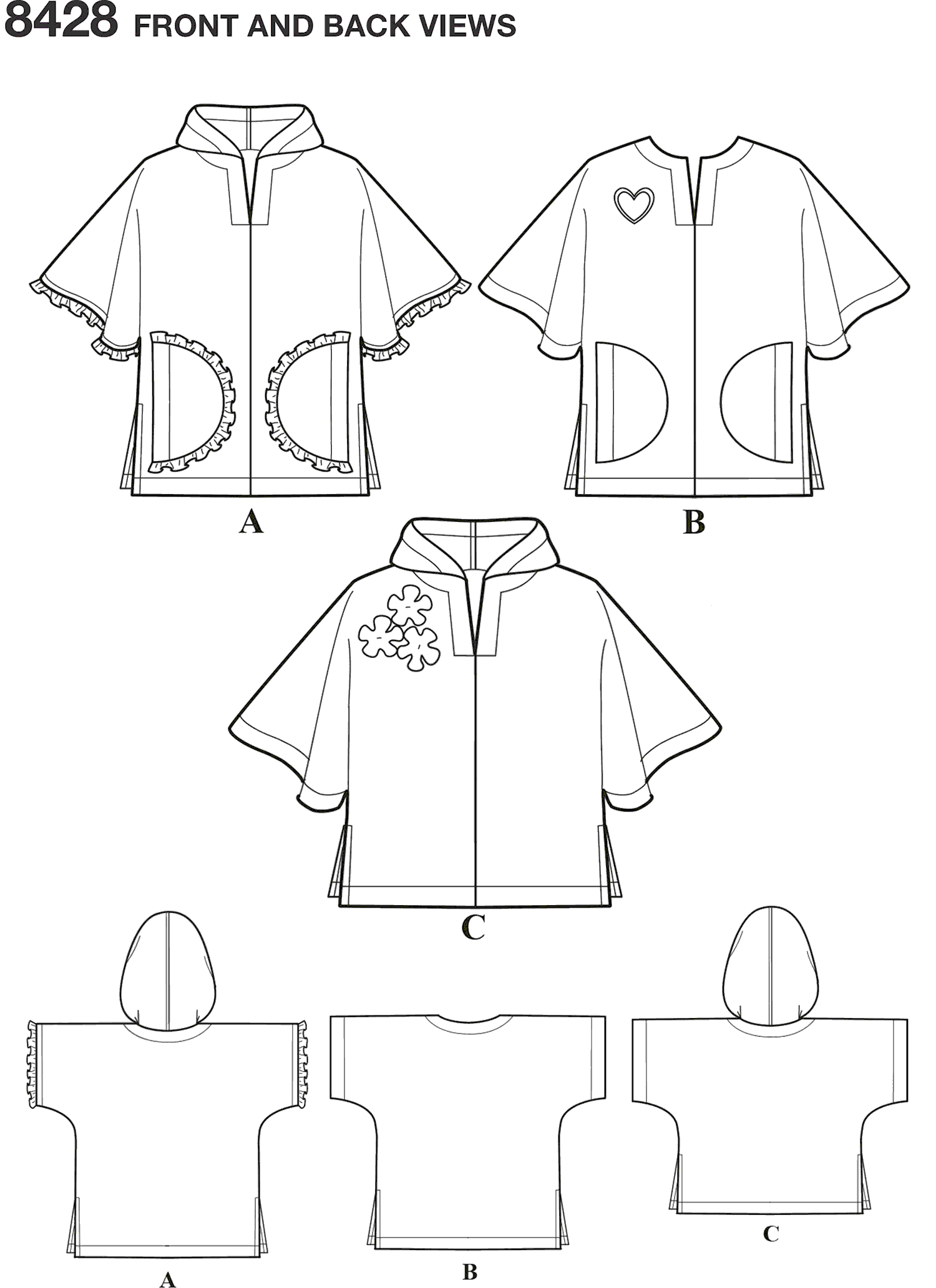 Simplicity Pattern 8428 Childs Poncho in Two Lengths Line Art From Patternsandplains.com