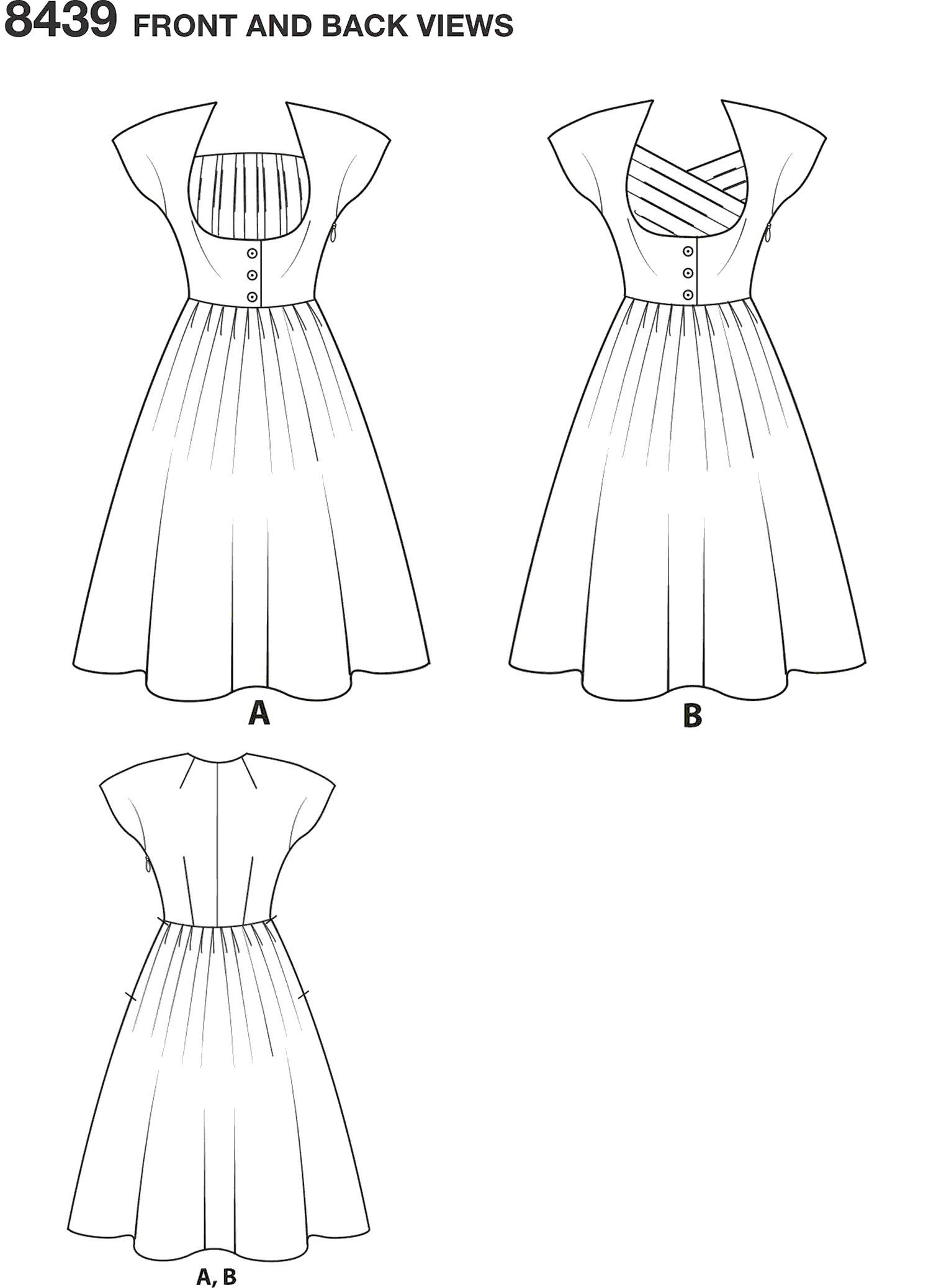Simplicity Pattern 8439 Womens Womens Dress with Bodice Variations Line Art From Patternsandplains.com