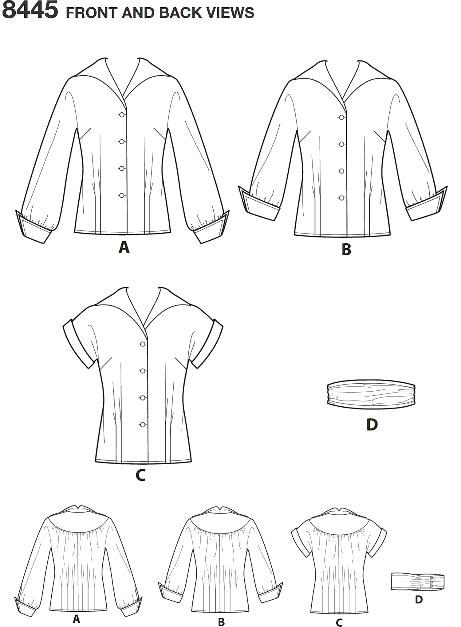 Simplicity Pattern 8445 Womens Vintage Blouses and Cummerbund Line Art From Patternsandplains.com