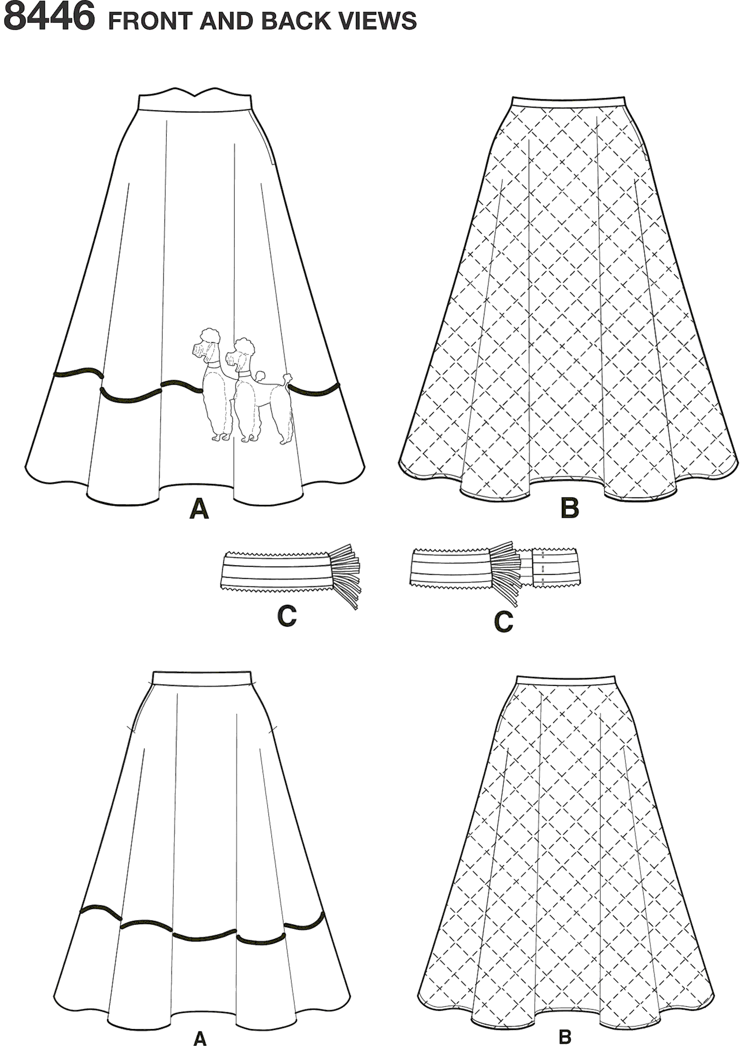 Simplicity Pattern 8446 Womens Vintage Skirt and Cummerbund Line Art From Patternsandplains.com
