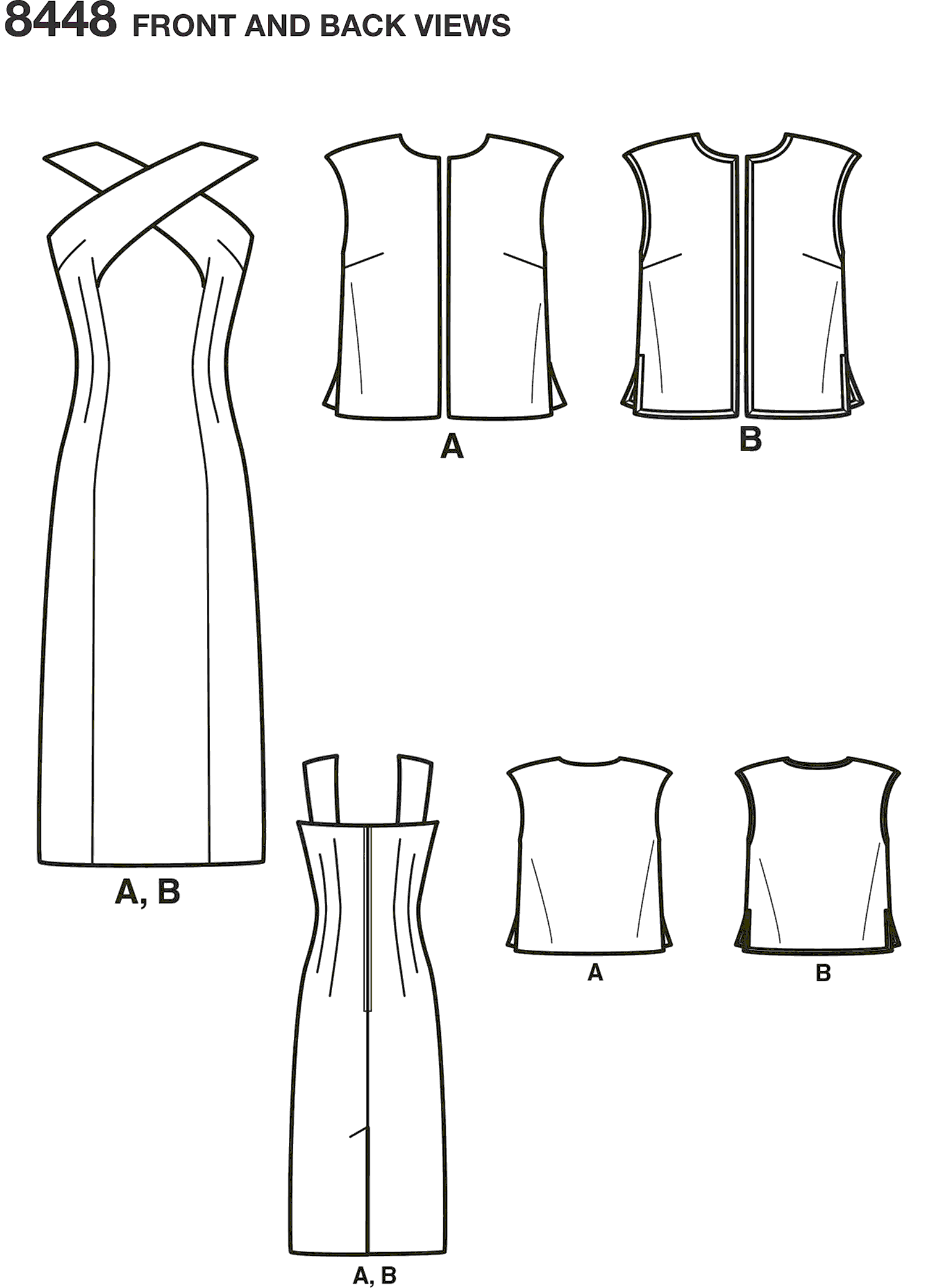 Simplicity Pattern 8448 Womens Vintage Dress and Lined or Unlined Vest Line Art From Patternsandplains.com