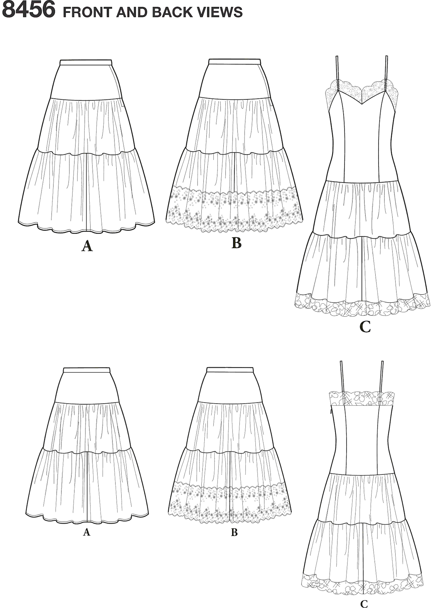Simplicity Pattern 8456 Womens Vintage Petticoat and Slip Line Art From Patternsandplains.com