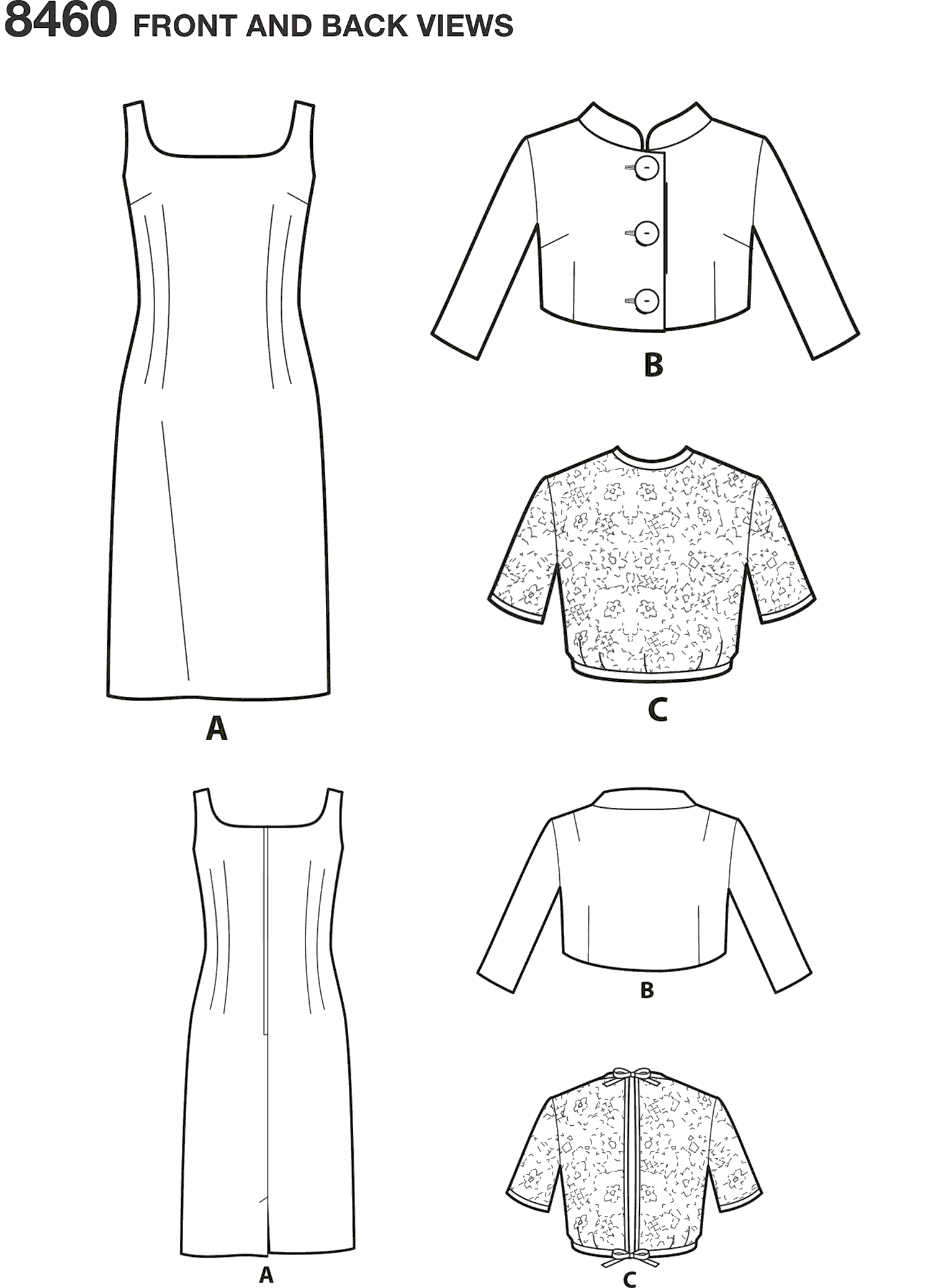 Simplicity Pattern 8460 Womens Vintage Dress and Jackets Line Art From Patternsandplains.com