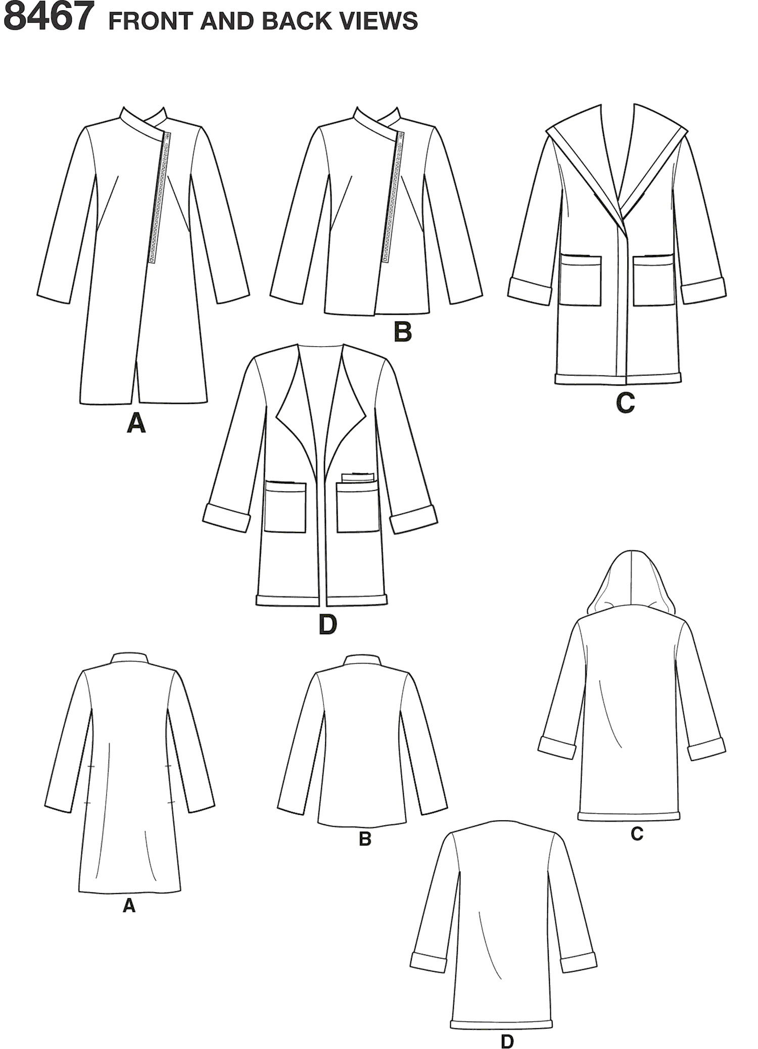 Simplicity Pattern 8467  Womens Coat or Jacket with Neckline Variations Line Art From Patternsandplains.com