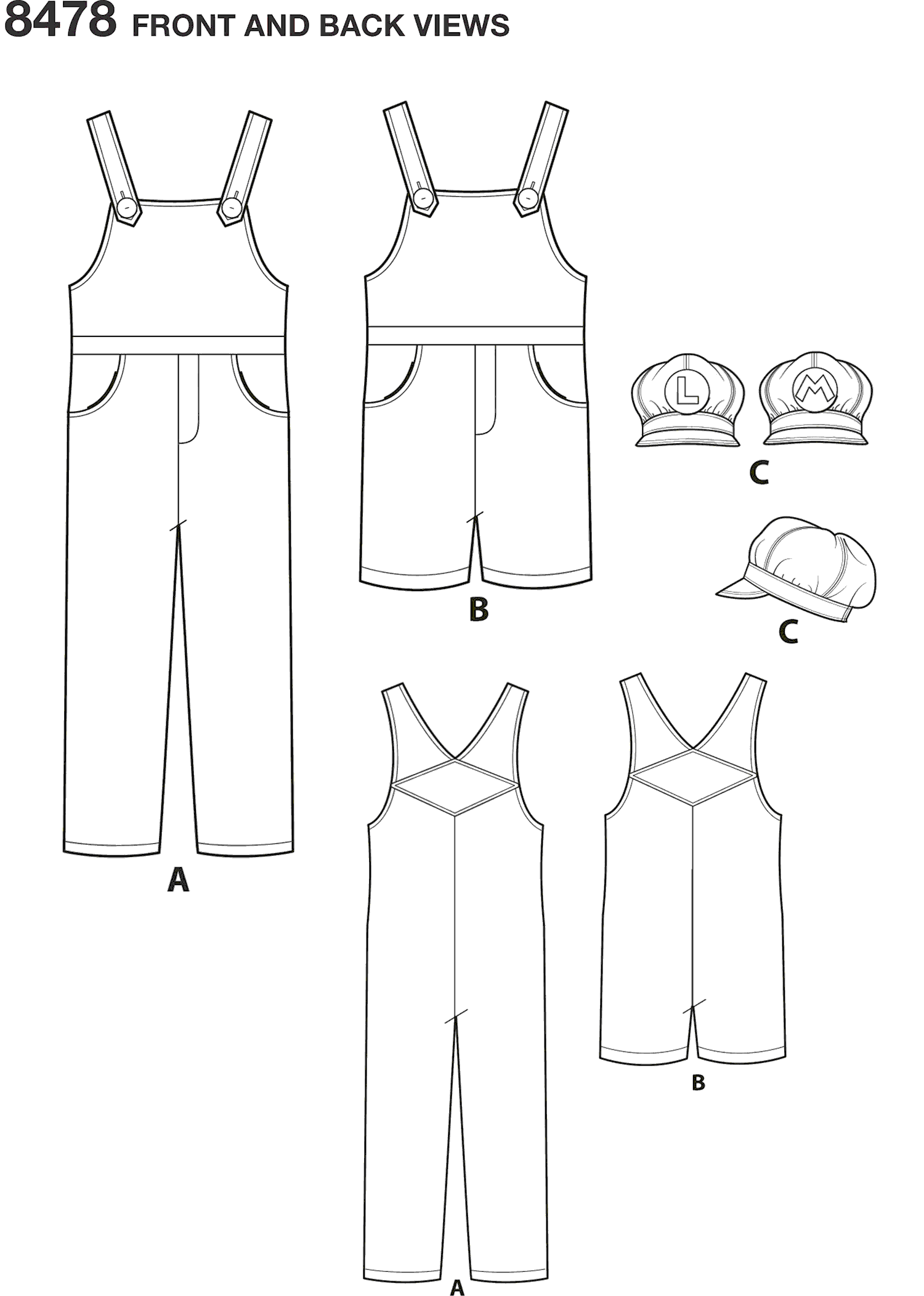 Simplicity Pattern 8478 Womens Mens and Teens Costume Line Art From Patternsandplains.com