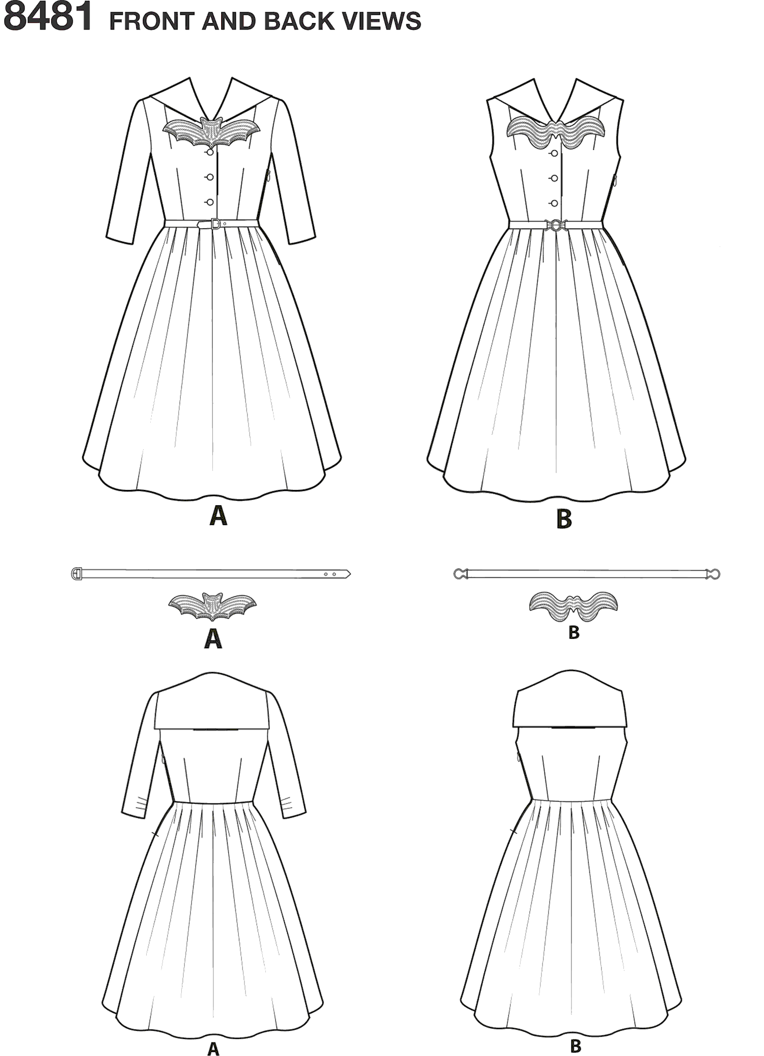 Simplicity Pattern 8481 Womens and Womens Rockabilly Dresses Line Art From Patternsandplains.com