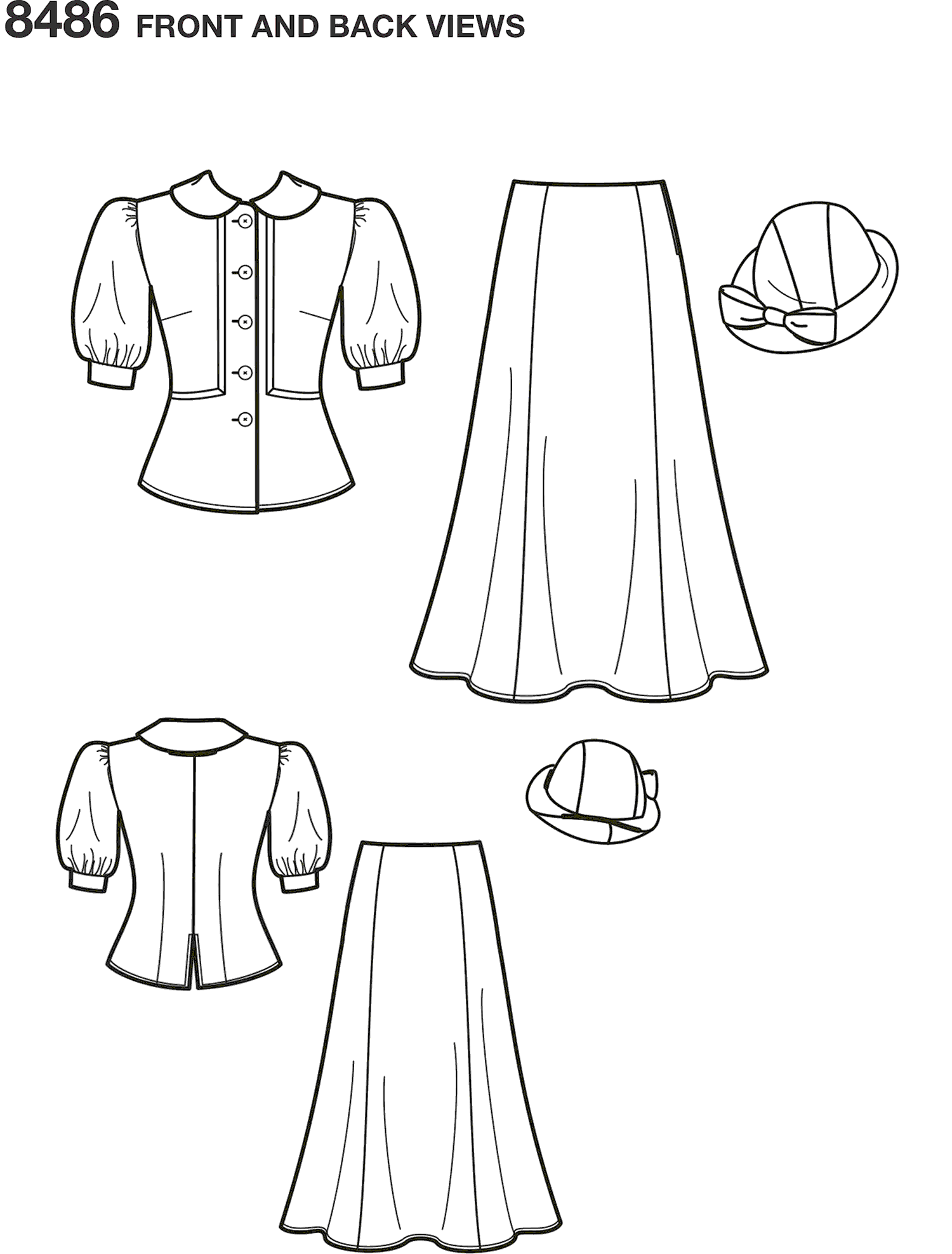 Simplicity Pattern 8486 Womens 1930s Snow White Dress and Hat Line Art From Patternsandplains.com