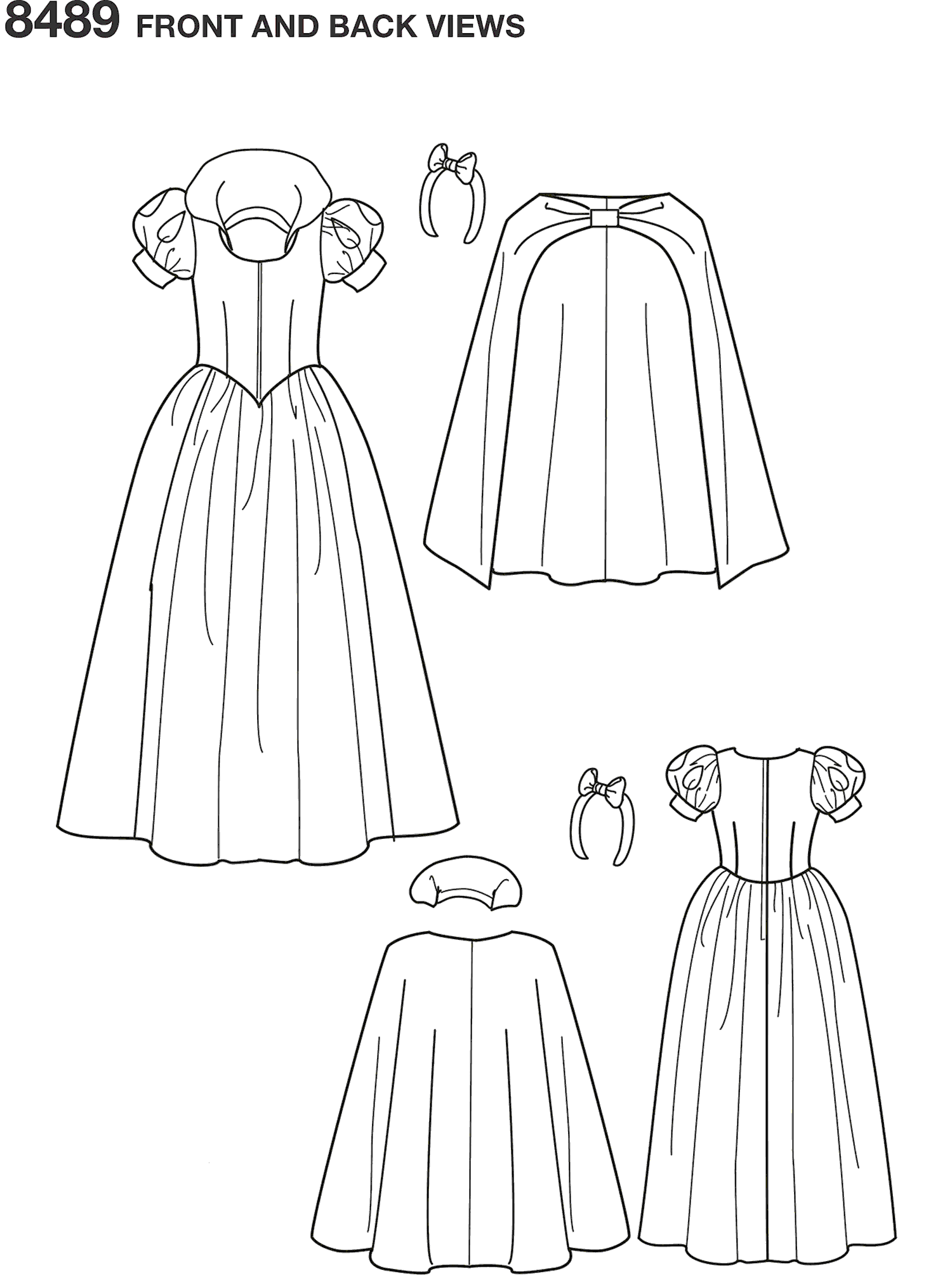 Simplicity Pattern 8489 Womens Snow White Costume Line Art From Patternsandplains.com
