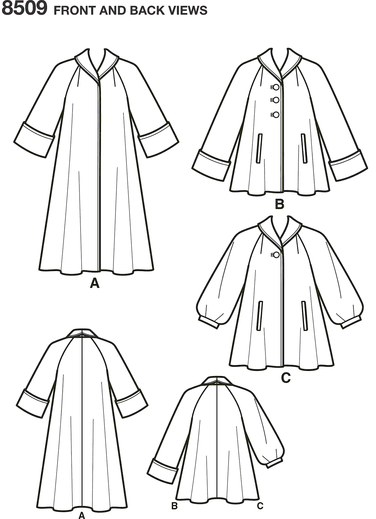 Simplicity Pattern 8509 Misses Vintage Coat or Jacket Line Art From Patternsandplains.com