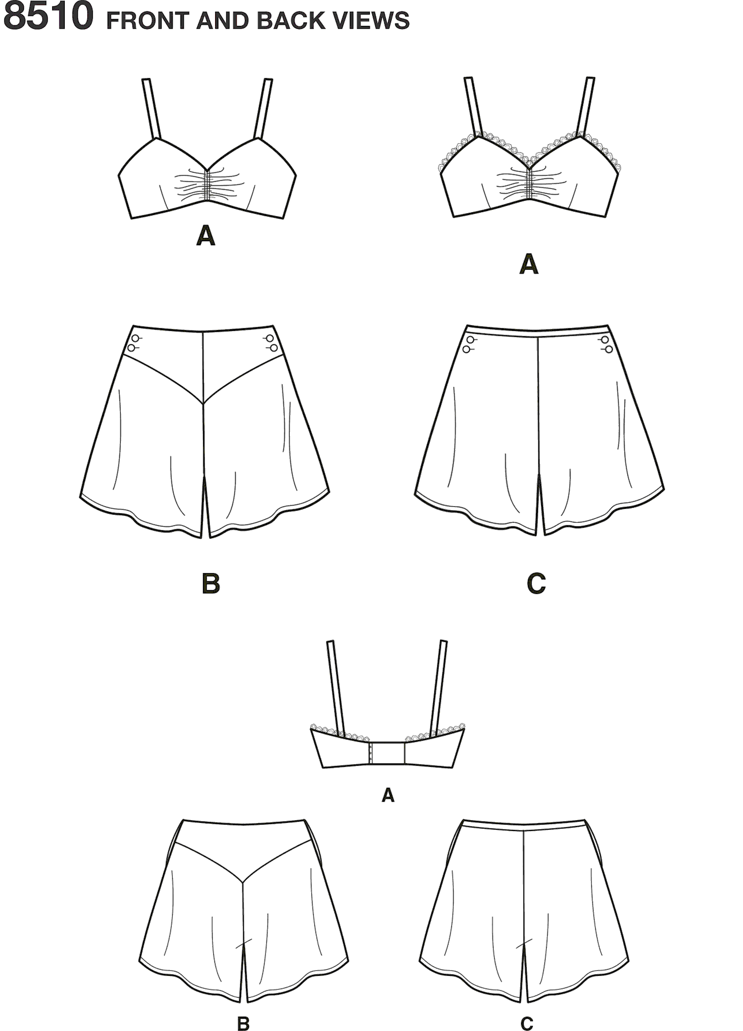Simplicity Pattern 8510 Miss Vintage Brassiere and Panties Line Art From Patternsandplains.com