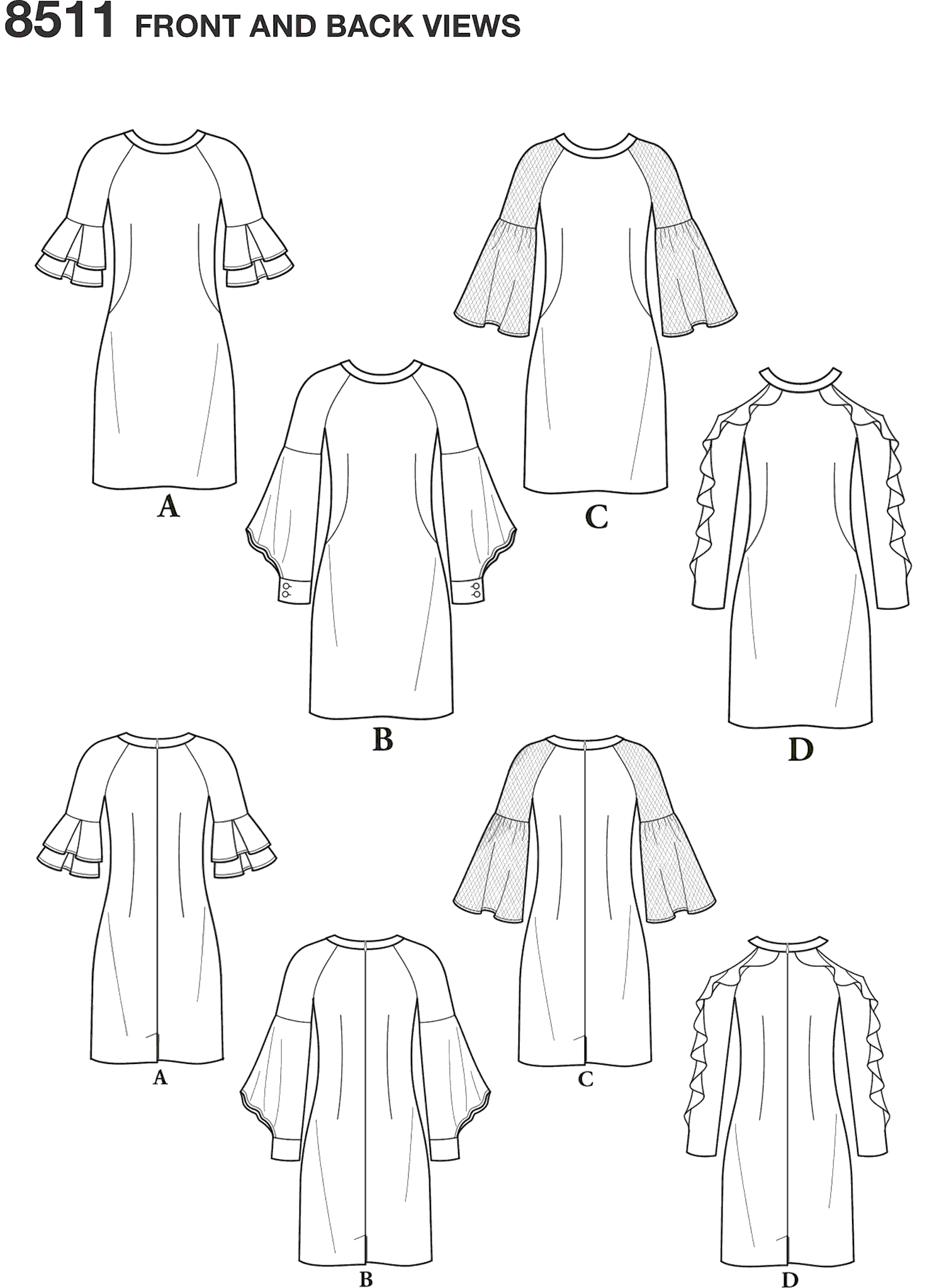 Simplicity Pattern 8511 Misses Dress with Sleeve Variations Line Art From Patternsandplains.com