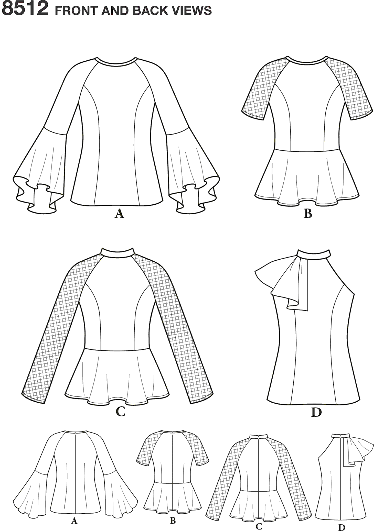 Simplicity Pattern 8512 Misses Petite Womens Tops with Sleeve Variations Line Art From Patternsandplains.com