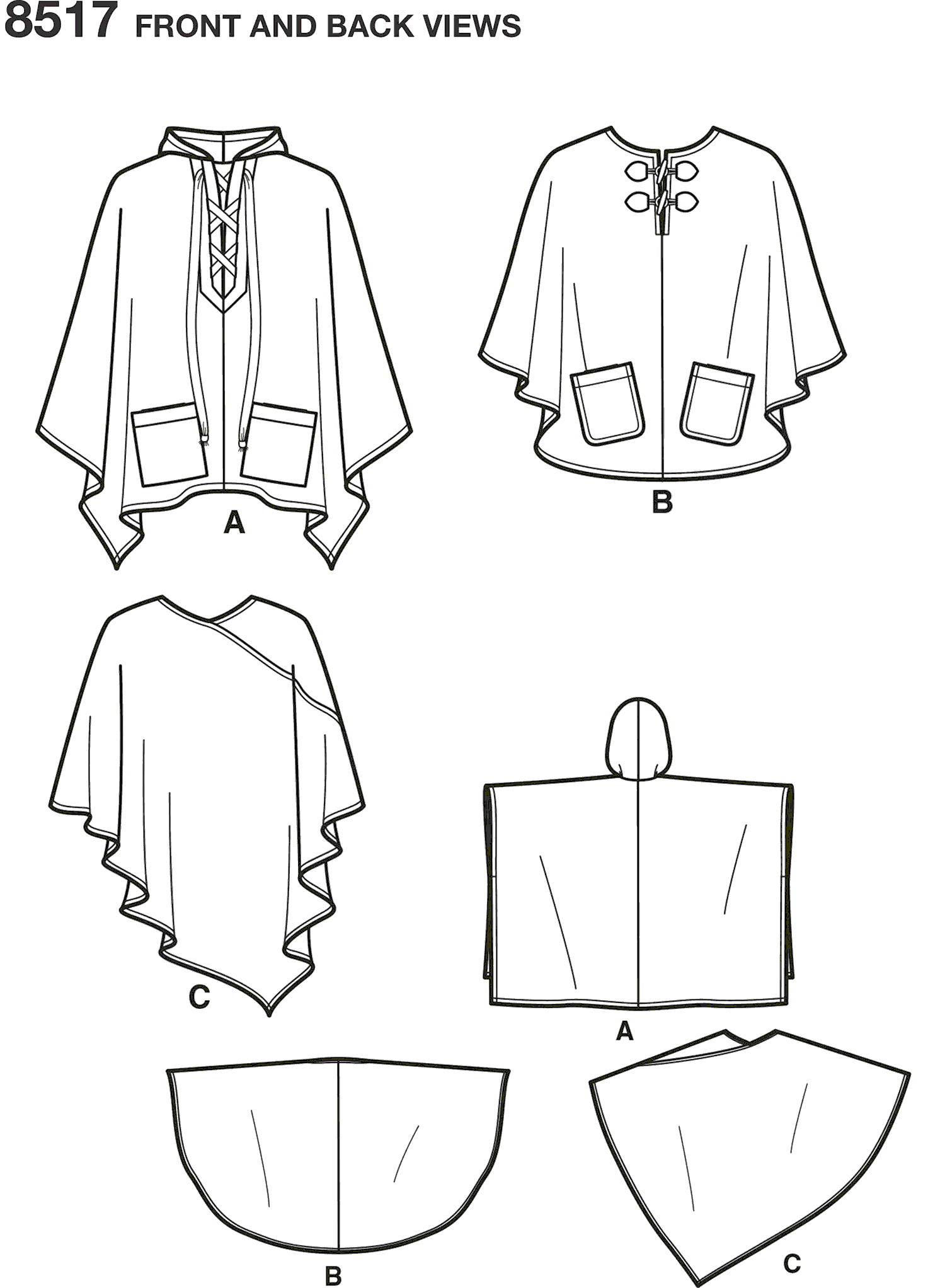 Simplicity Pattern 8517 Misses Set of Ponchos Line Art From Patternsandplains.com