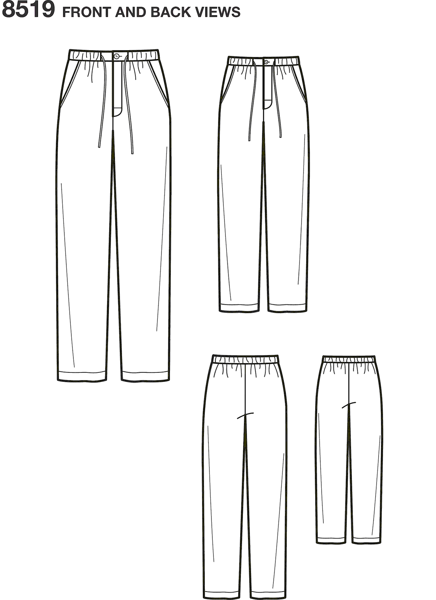 Simplicity Pattern 8519 Boys and Mens Slim Fit Lounge Trousers Line Art From Patternsandplains.com