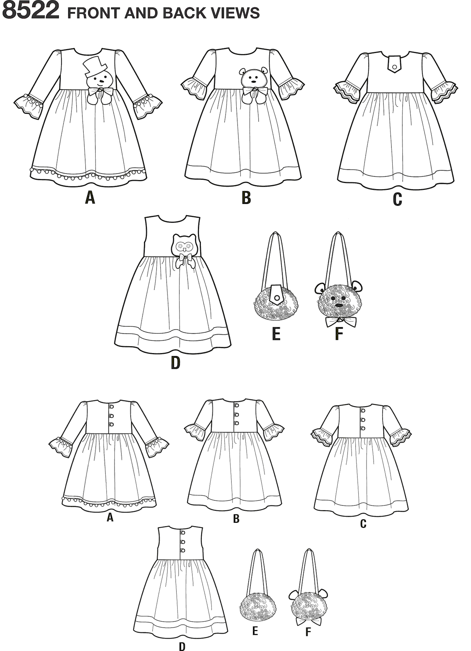 Simplicity Pattern 8522 Child Dresses and Purses from Ruby Jeans Closet Line Art From Patternsandplains.com